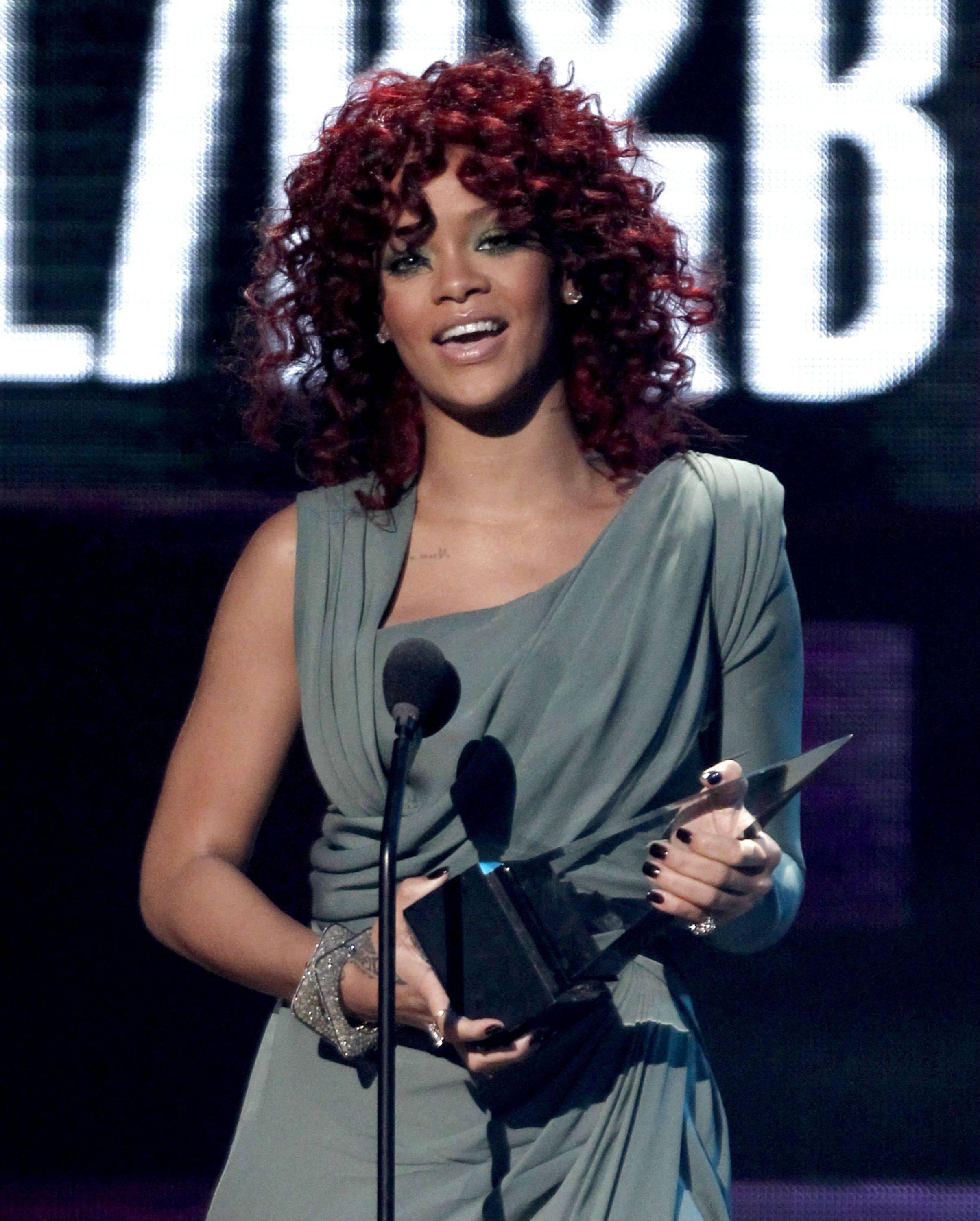 Rihanna accepts the award for soul R&B favorite female artist at the 38th Annual American Music Awards on Nov. 21, 2010 in Los Angeles.