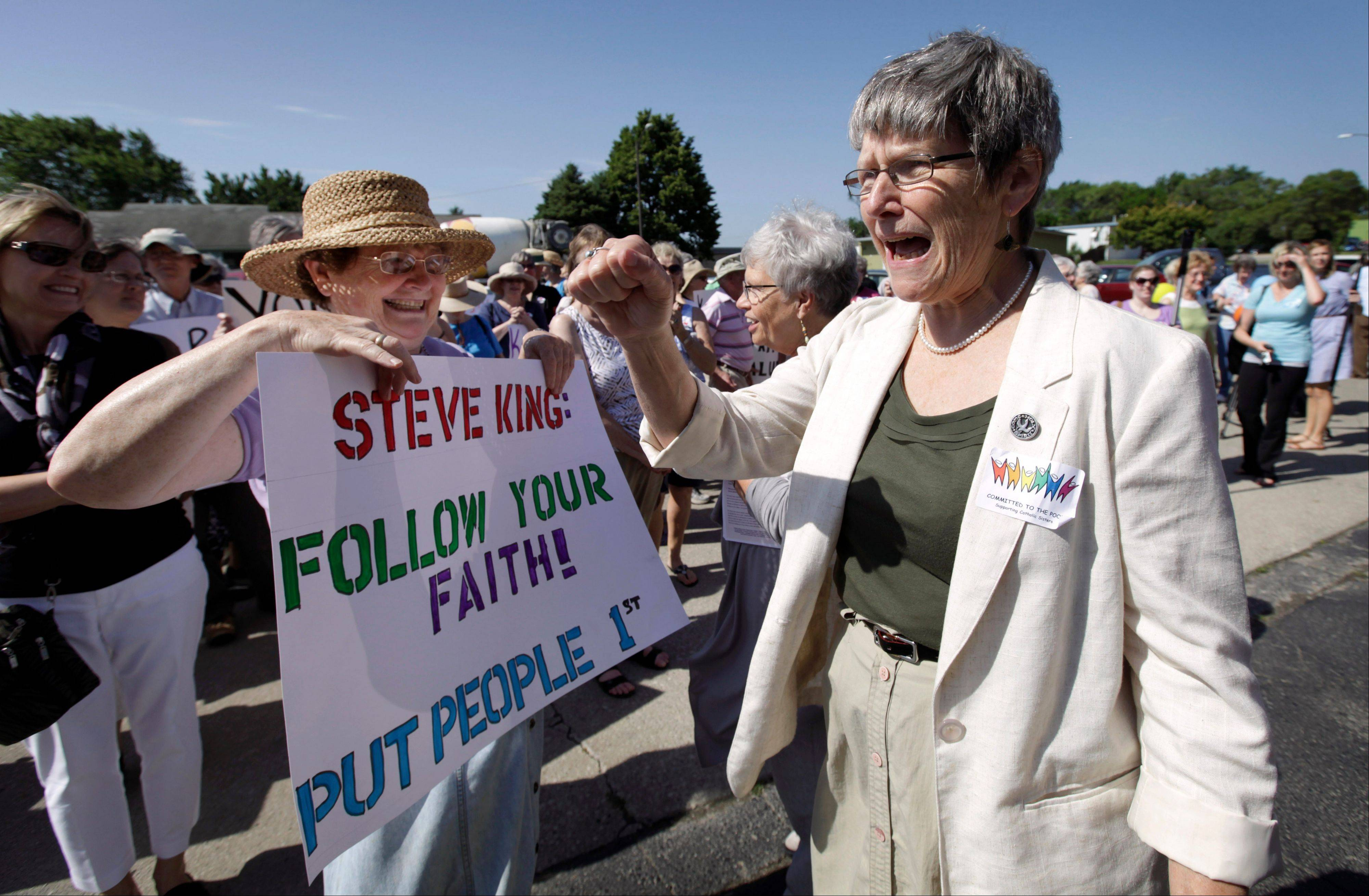 "This file photo from June 18, 2012, shows Sister Simone Campbell, right, executive director of Network, a social justice lobby founded by nuns four decades ago. She said of Pope Francis, ""It can make a big difference"" to have a pope who knows about life in religious orders."