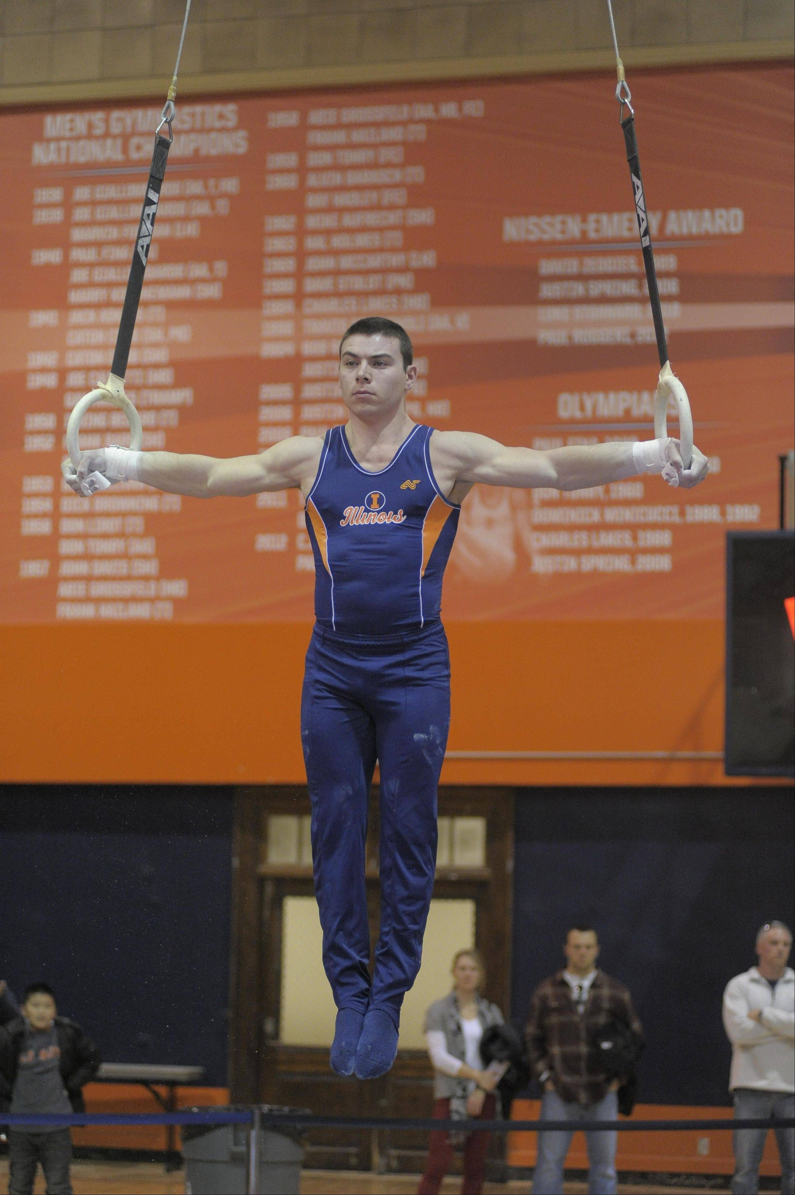 Buffalo Grove native Mike Wilner competes on the still rings for the University of Illinois men's gymnastics team. He's ranked No. 1 in the event nationally and has his sights set on a national title.
