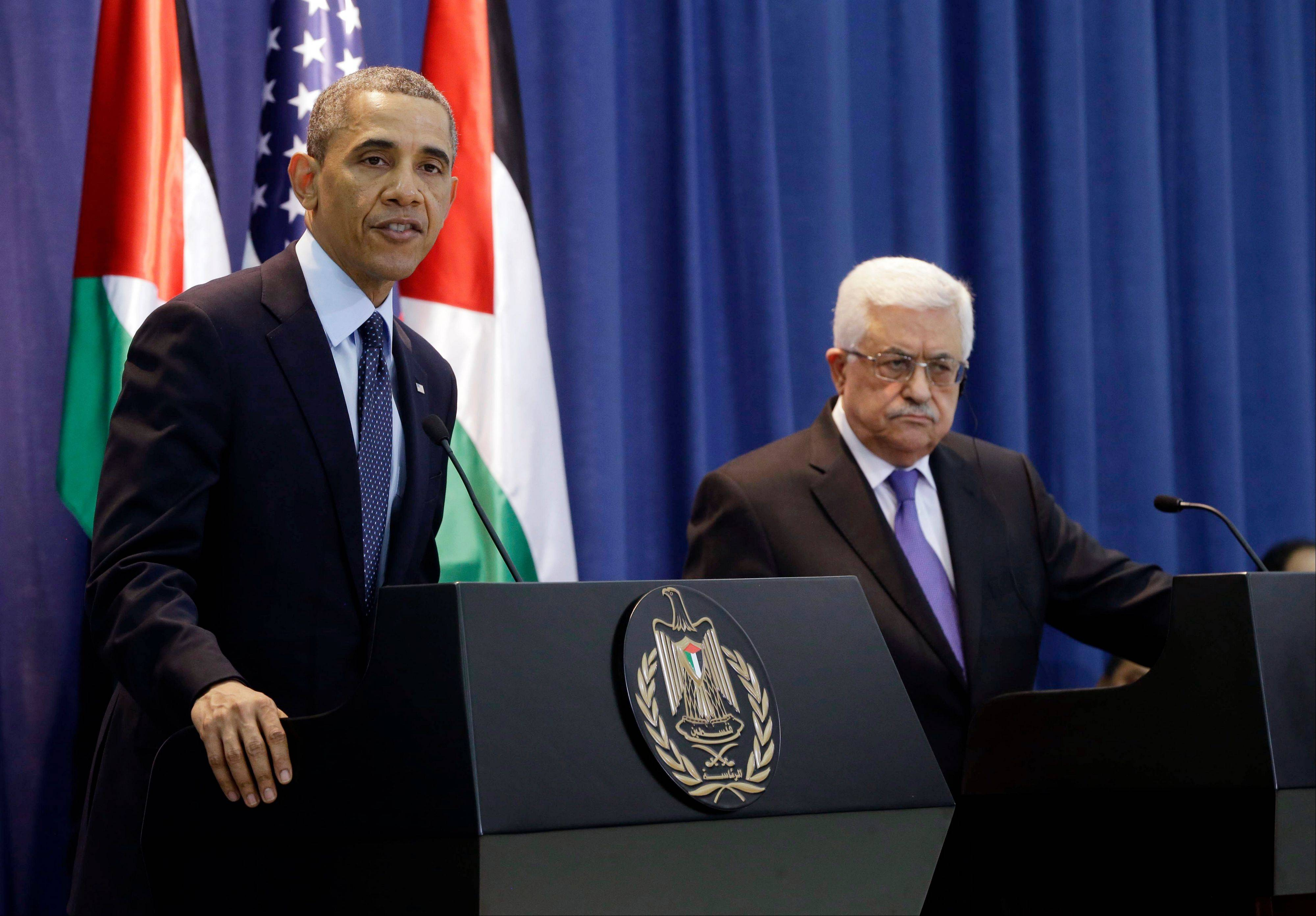 President Barack Obama and Palestinian President Mahmoud Abbas during their joint news conference at the Muqata President Compound in the West Bank city of Ramallah, Thursday, March 21, 2013.