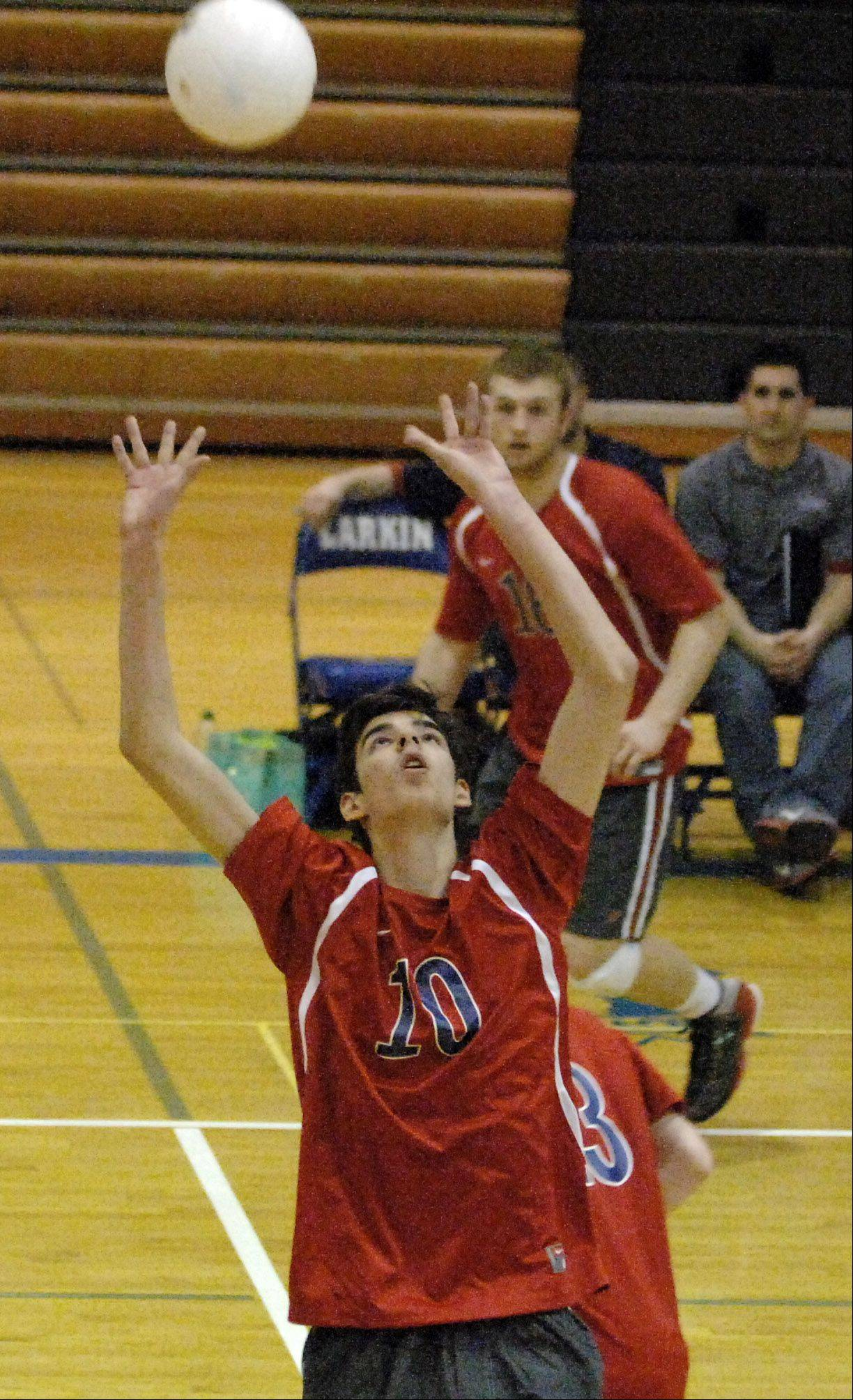 South Elgin's Chris Gibadlo sets up a teammate against Larkin during Thursday's game at Larkin in Elgin.