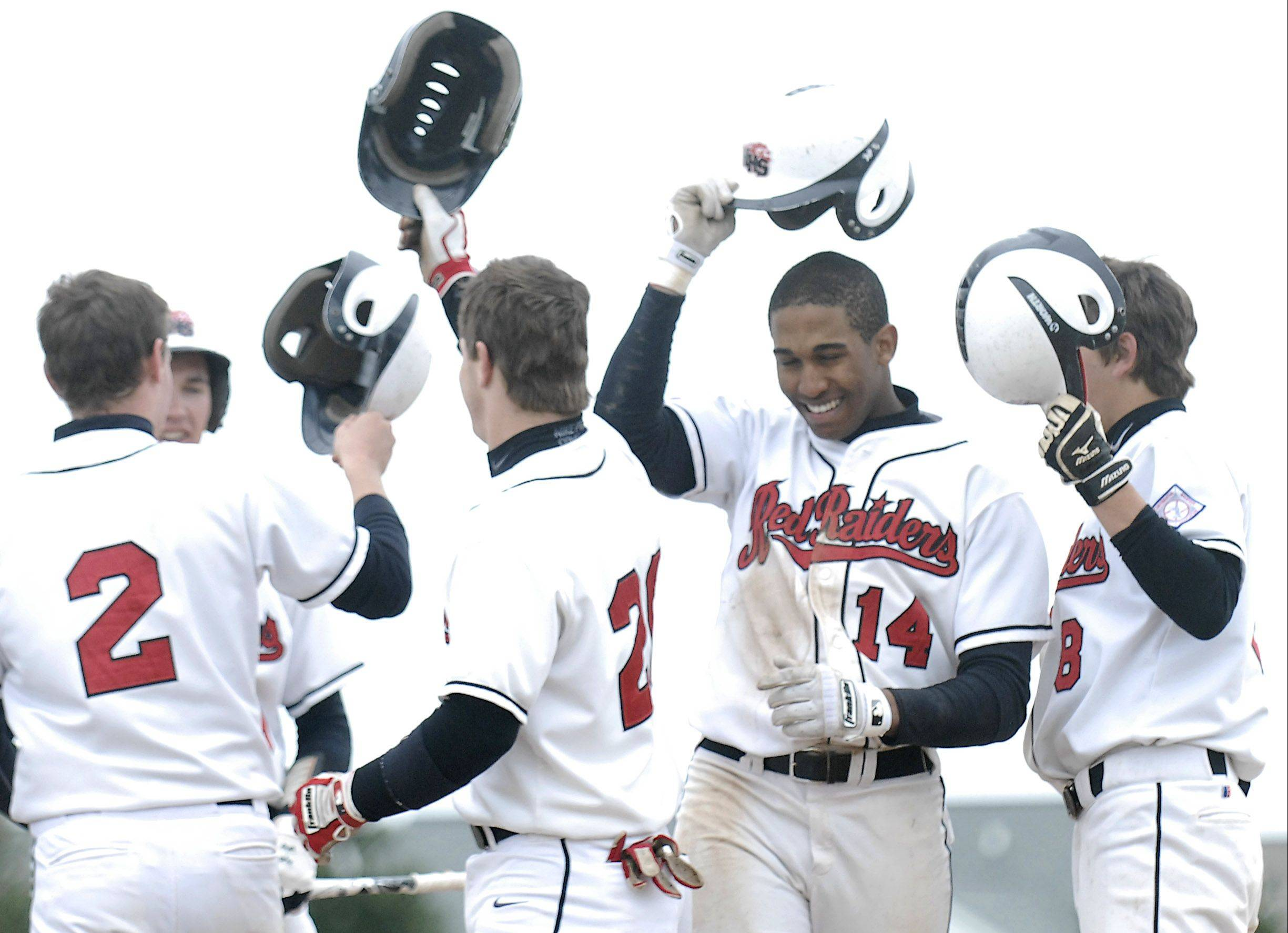 Huntley's Bryce Only (14) is all smiles after hitting a home run last season.