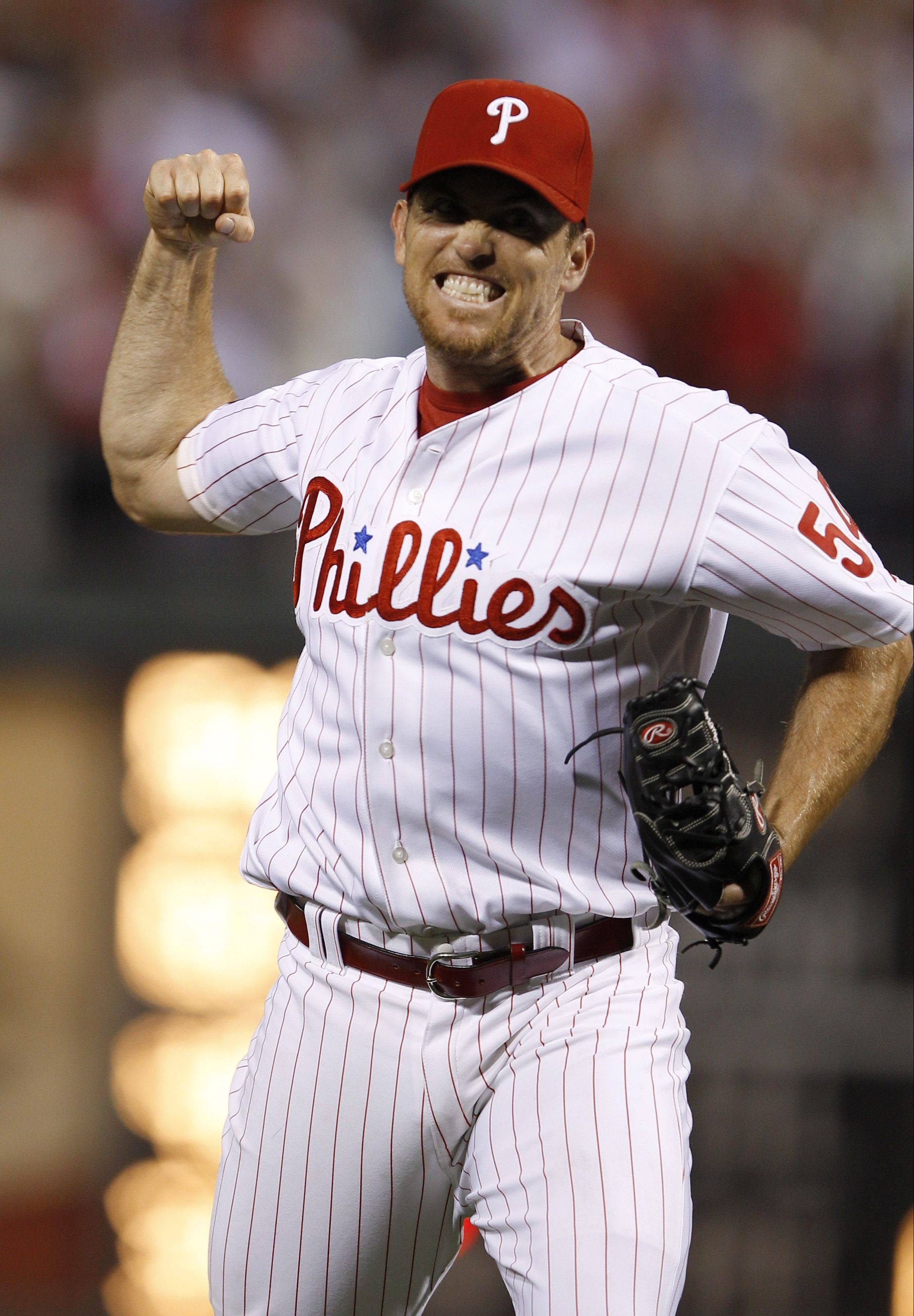 Brad Lidge, a cousin of Barrington's catcher Ryan Lidge, reacts during a game against the Atlanta Braves.