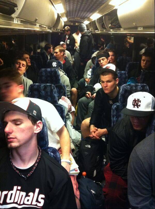 North Central College baseball players ride their bus on their Spring Break road trip.