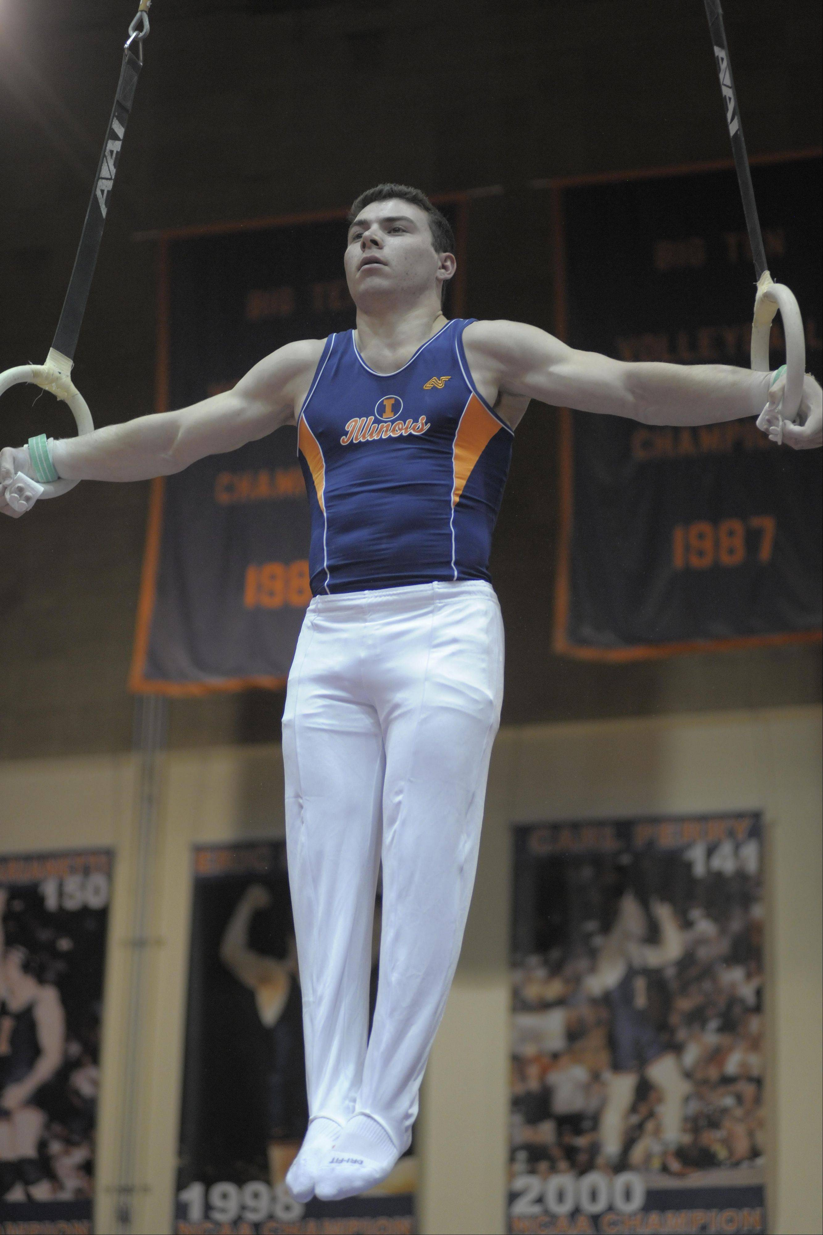 Buffalo Grove native Mike Wilner competes on the still rings for the University of Illinois men's gymnastics team. He's ranked No. 1 in the event nationally and will travel to Israel this summer to compete in the 19th Maccabiah Games.