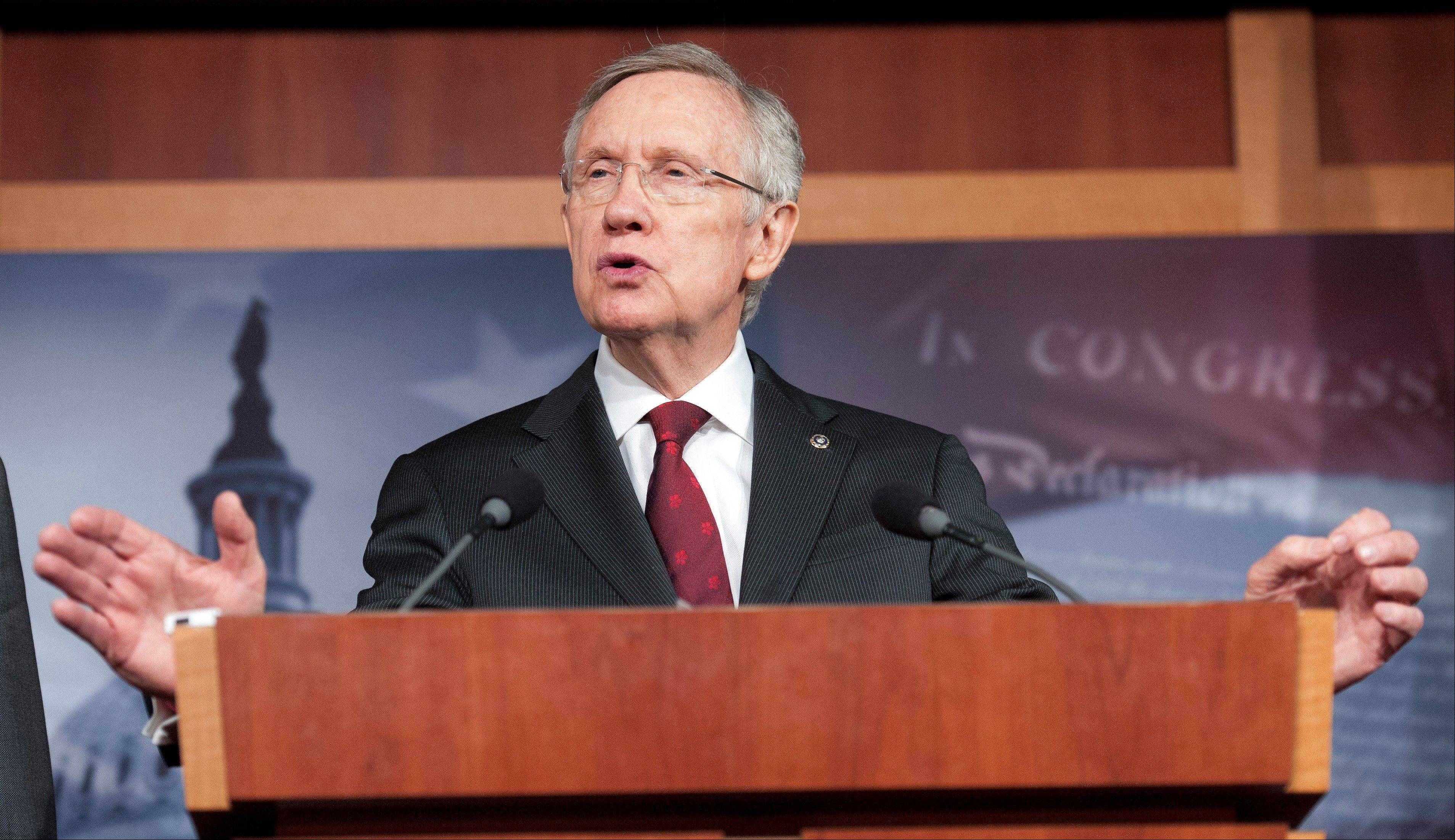 Senate Majority Leader Harry Reid, D-Nev., says gun control legislation the Senate debates next month will include an expansion of federal background checks for firearms buyers.