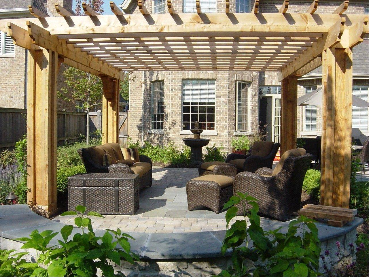 Patio's with pergolas are a popular outdoor design feature today.