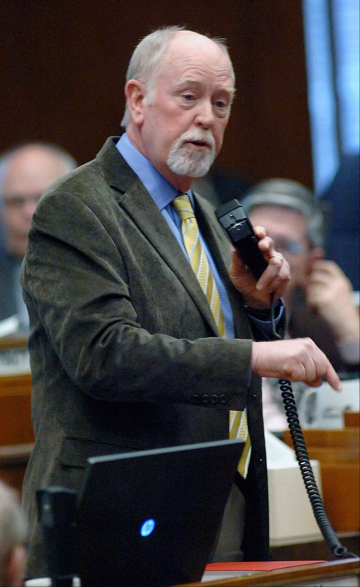 GOP House Majority Leader Al Carlson of Fargo strongly urges legislators to vote their convictions when voting for division A of SB2303 during floor debate Friday.