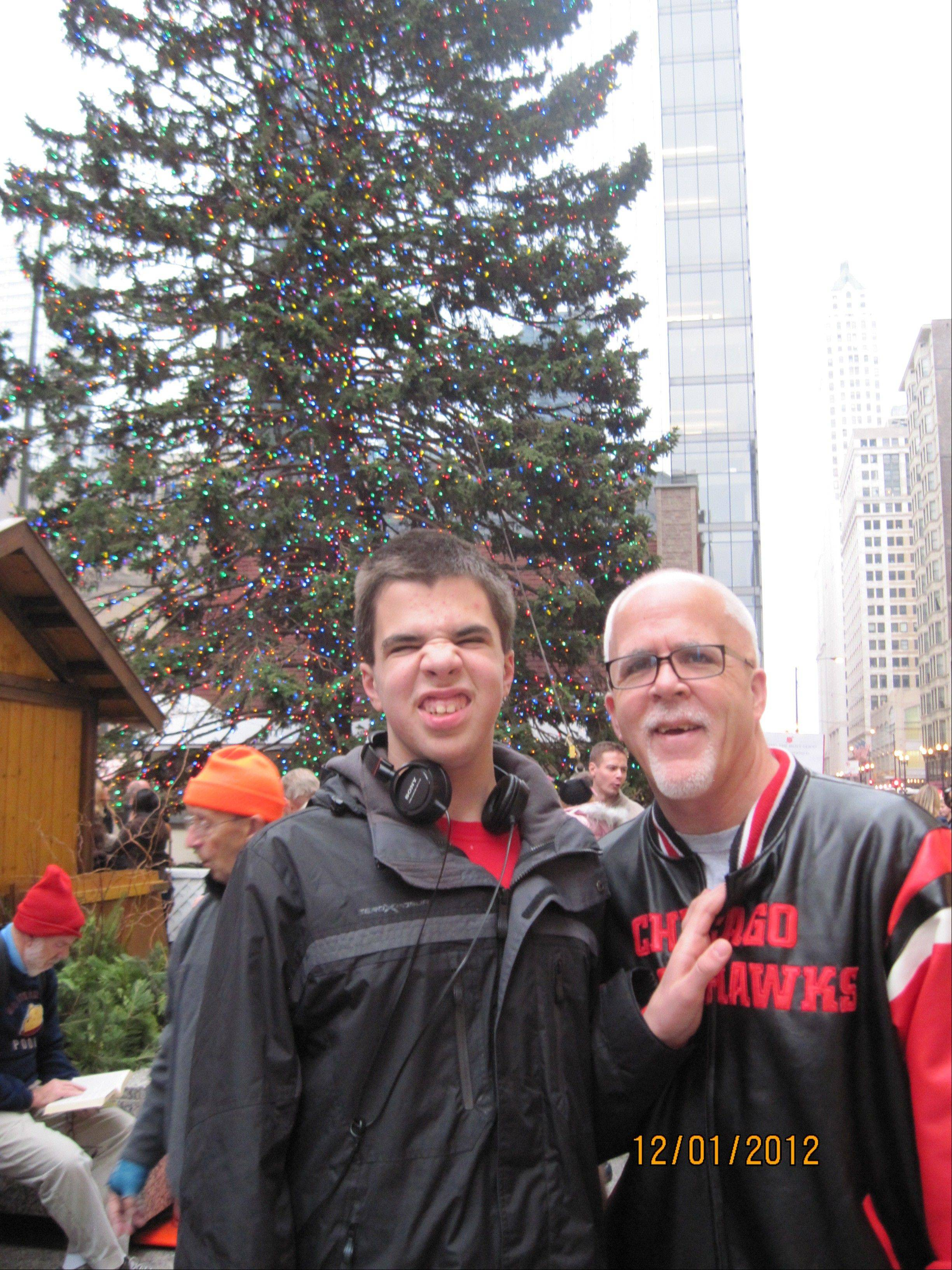 Mike Baker of Schaumburg and his son, Bryan, 14.