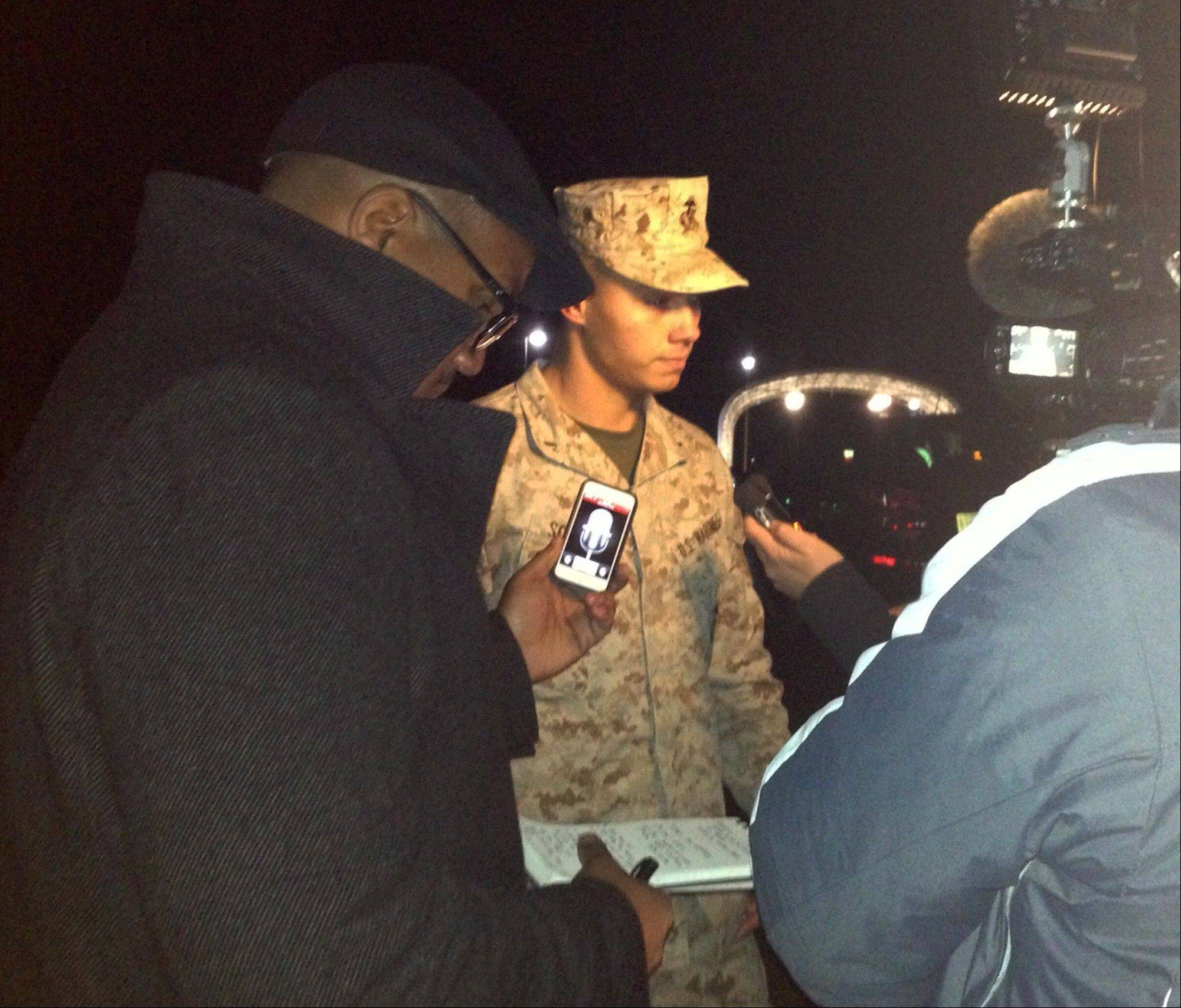 The Marine Base Quantico, spokesman Lt. Agustin Solivan briefs reporters following a shooting incident on the base.