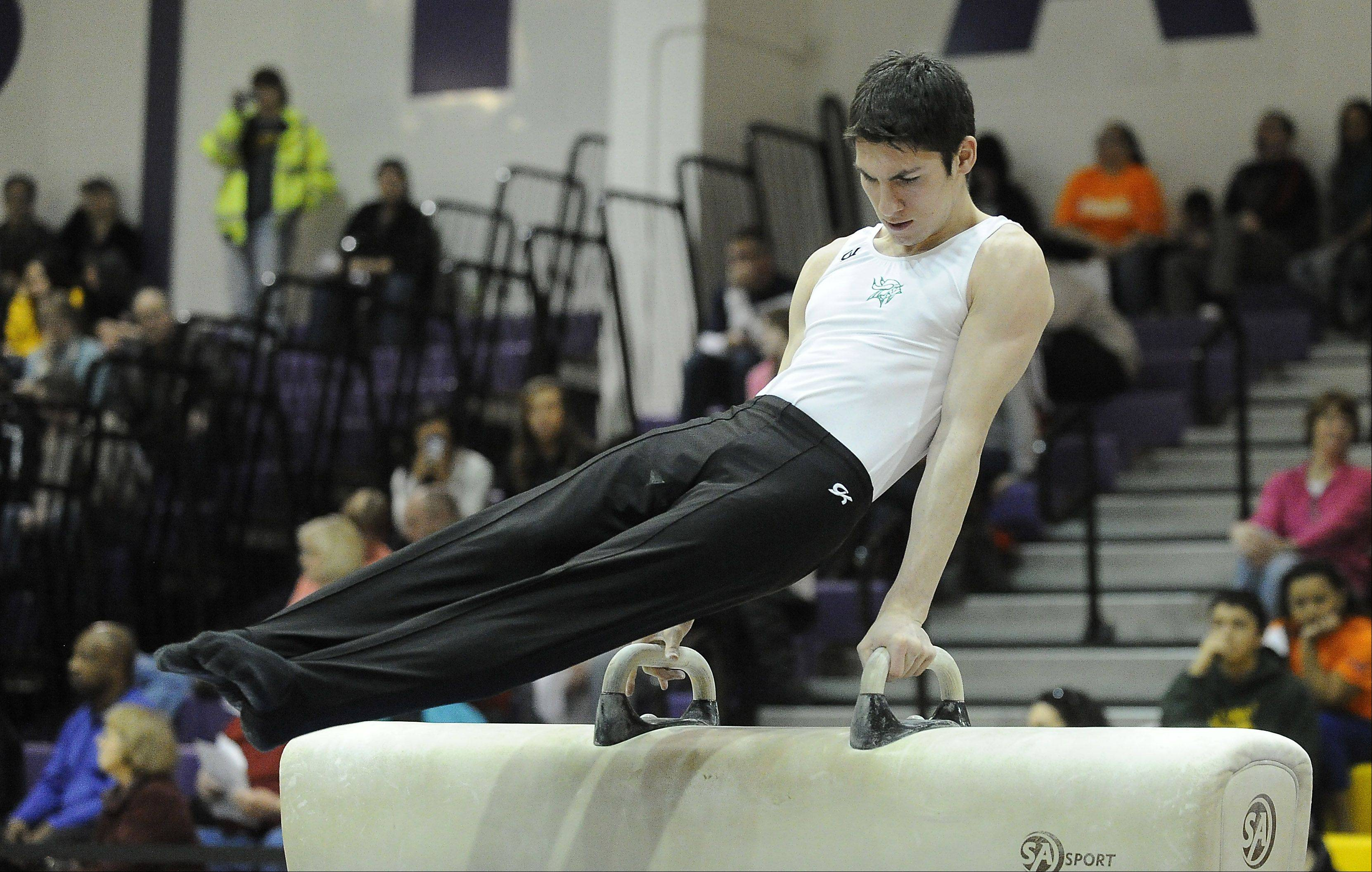 Fremd's C.J. Patton performs his pommel horse routine during competition at the Vic Avigliano Mustang Invitational at Rolling Meadows High School on Saturday. Patton won the event with a score of 9.5