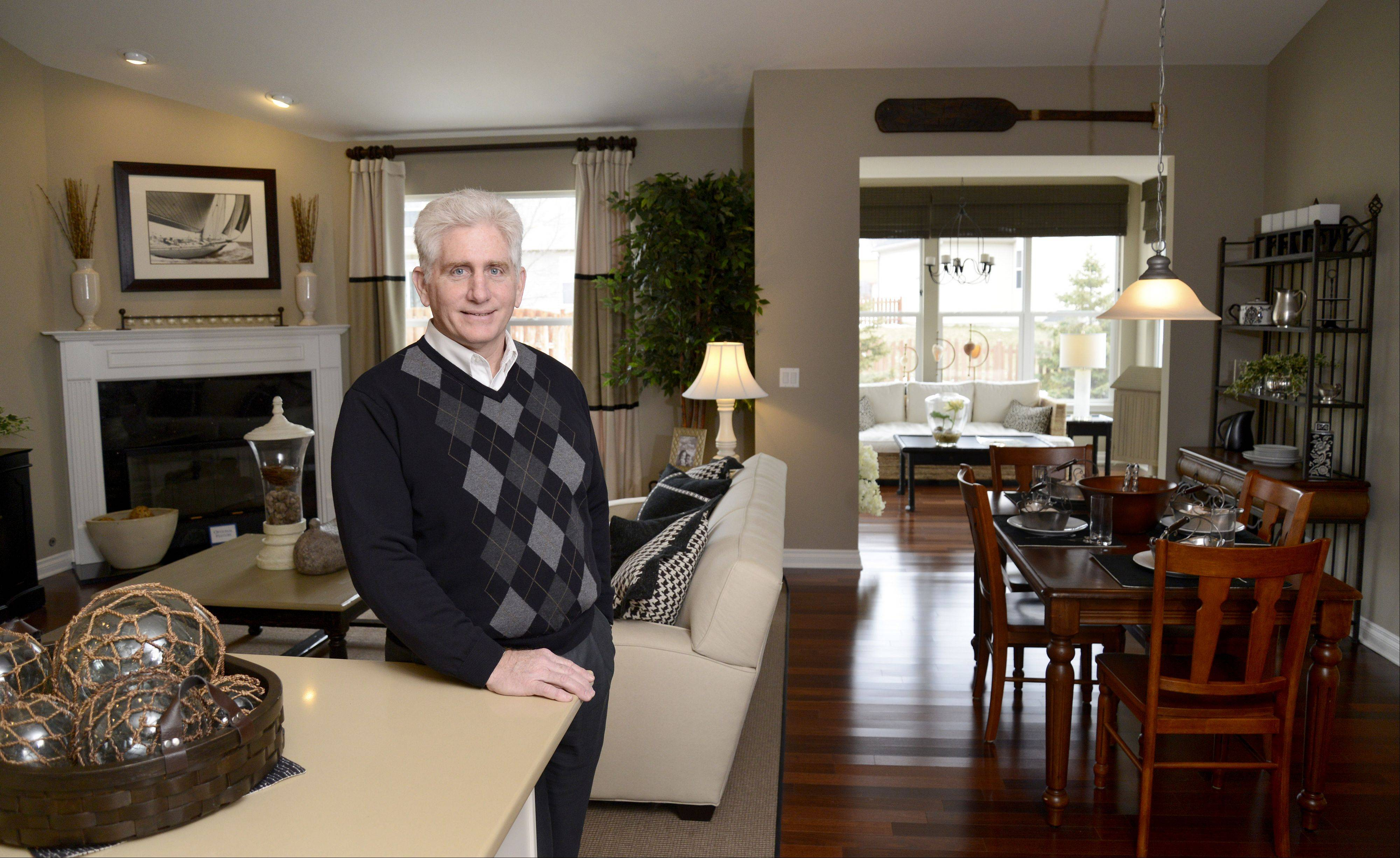 Roger Gerstad, president of Gerstad Builders, shows the Jefferson model in his Liberty Trails community in McHenry.