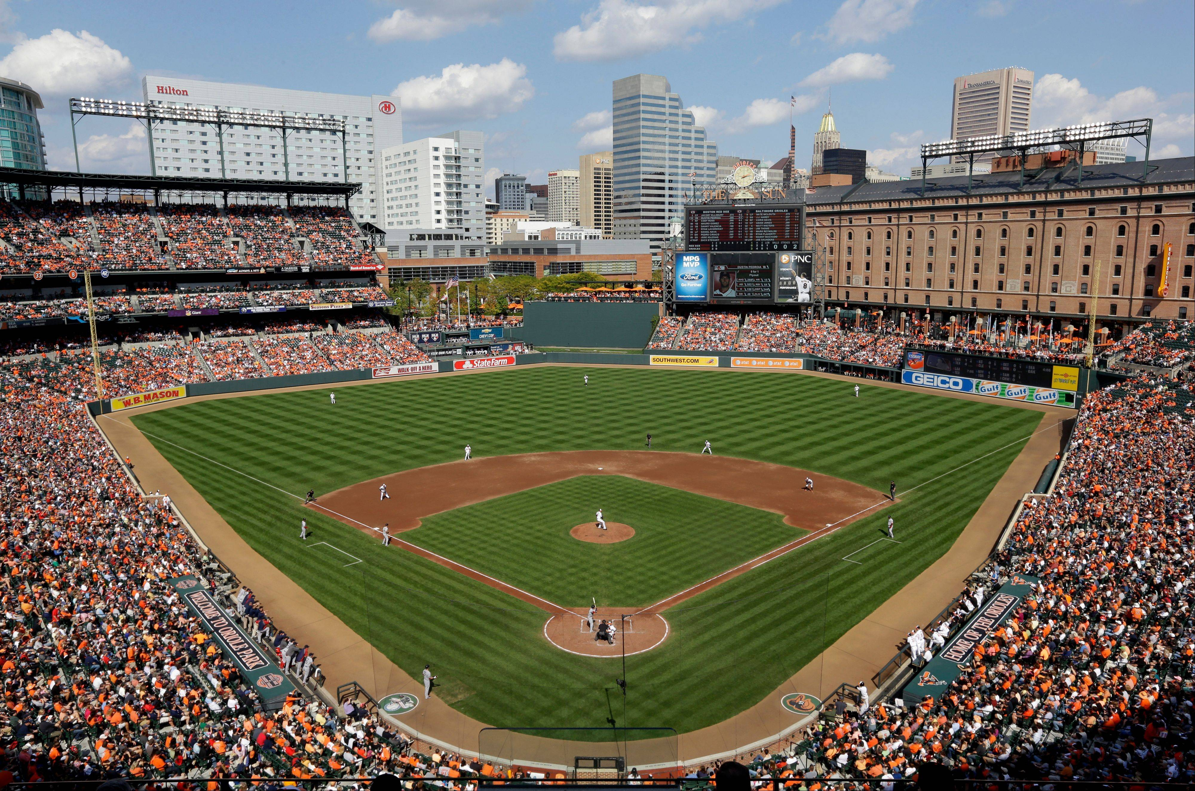 A view of Camden Yards during the third inning of a baseball game between the Baltimore Orioles and the Boston Red Sox in Baltimore.