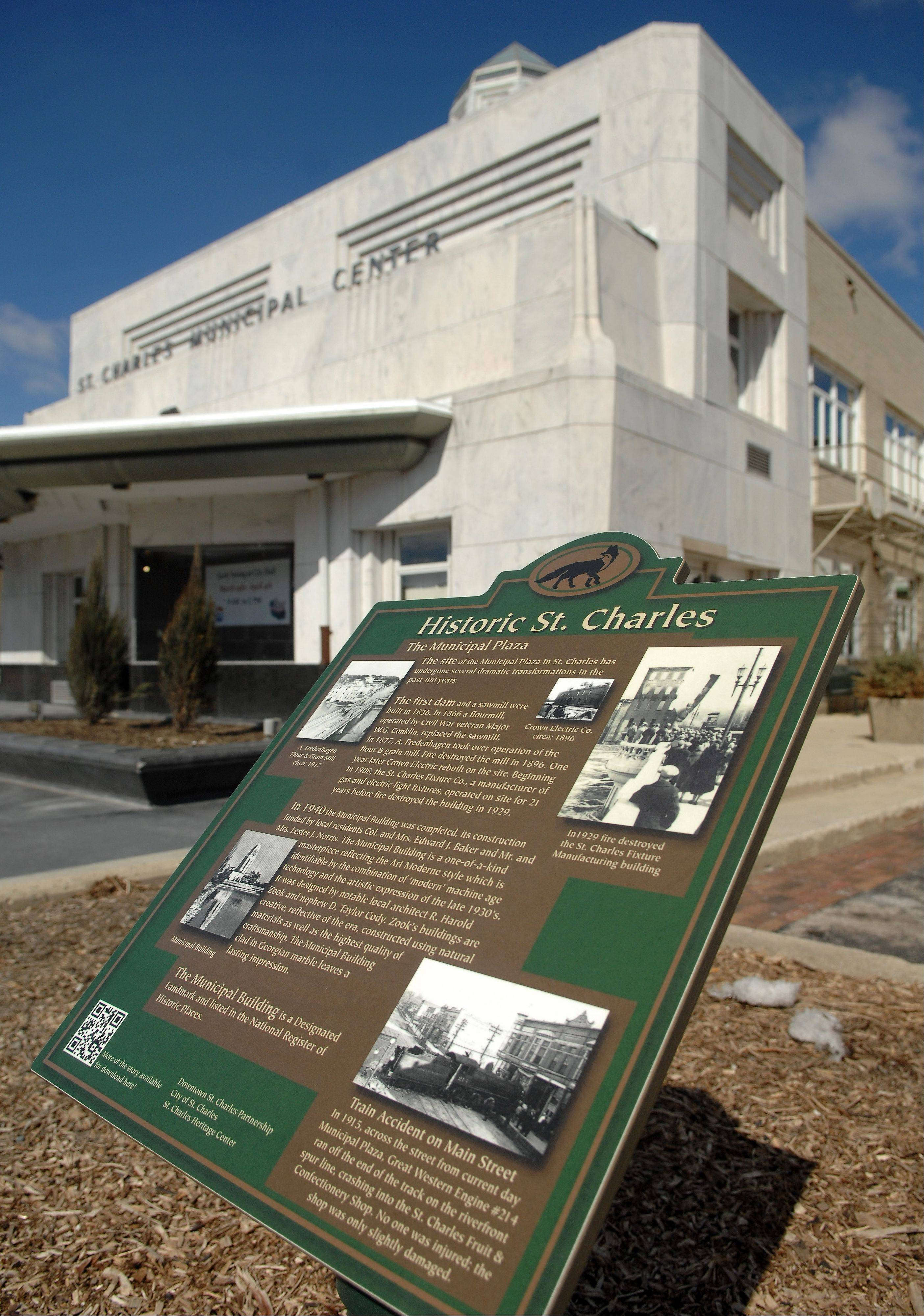 A new historic marker sits in downtown St. Charles in front of the municipal center.