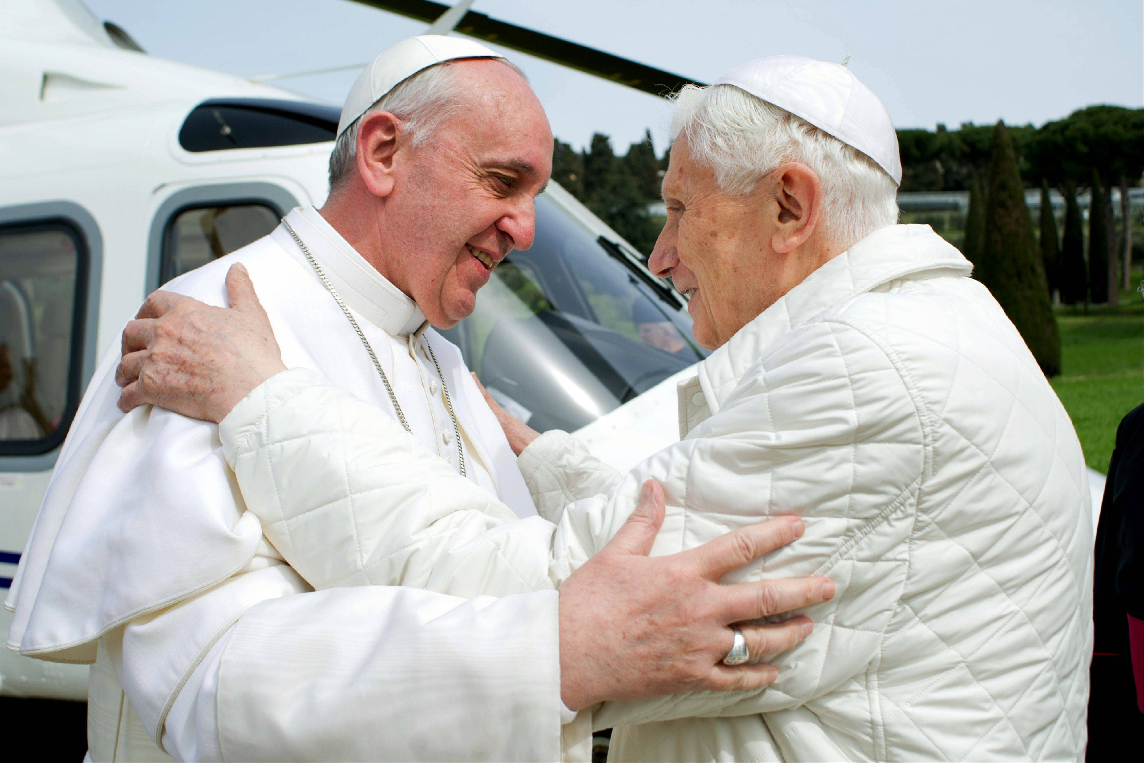 Pope Francis meets Pope emeritus Benedict XVI in Castel Gandolfo Saturday.