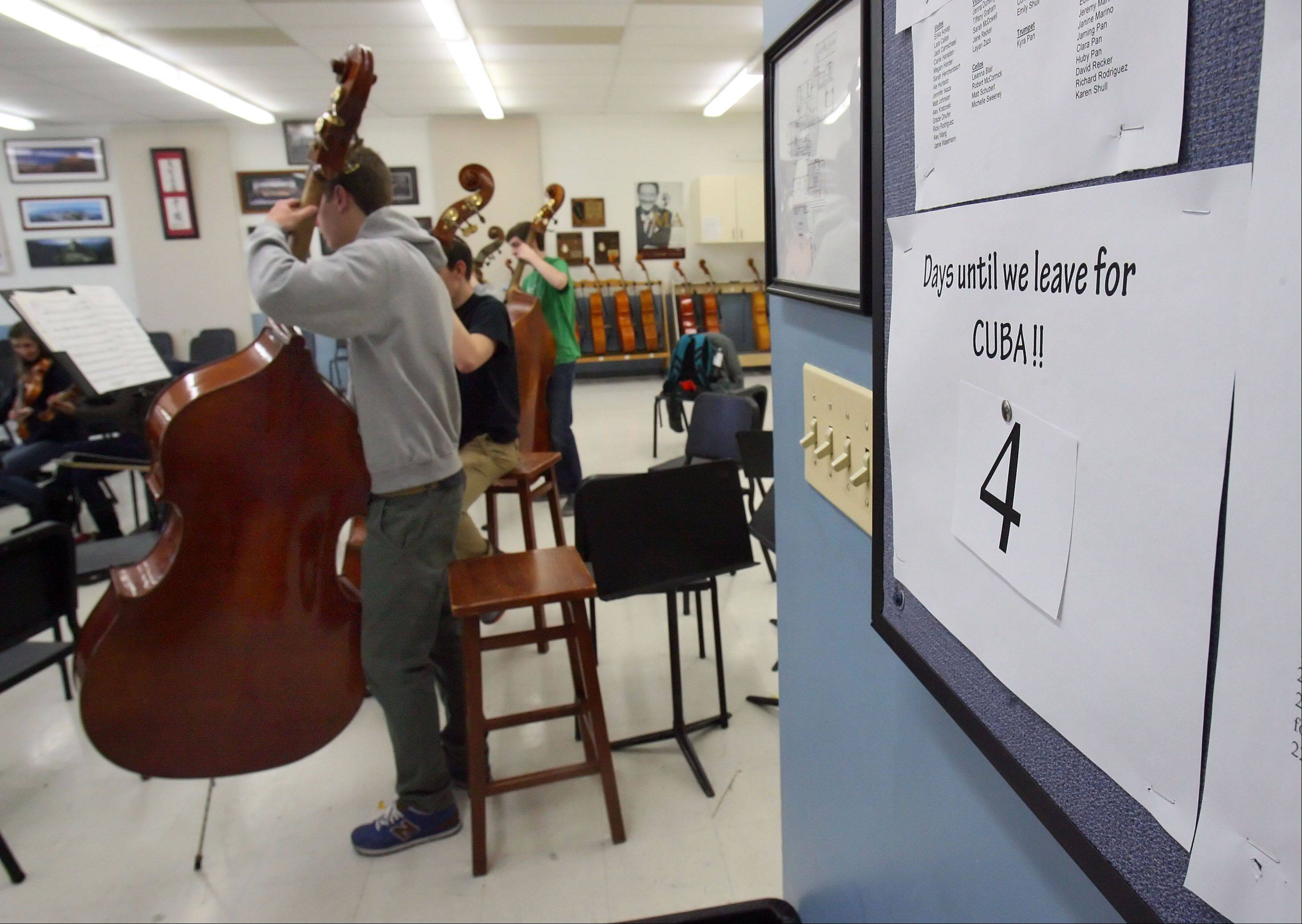 A countdown calendar marks the days left until the Libertyville High School orchestra's spring break trip to Cuba.