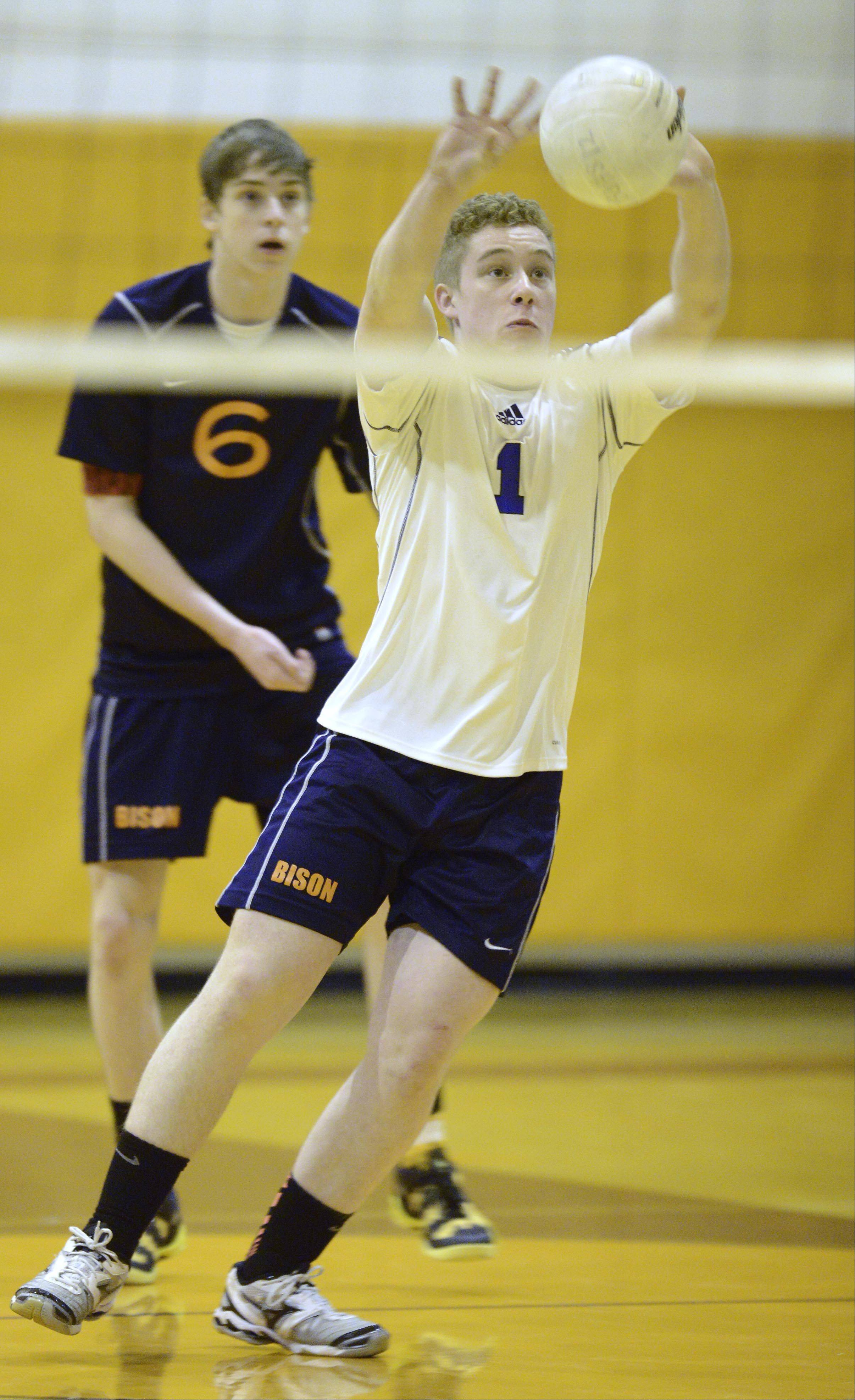 Buffalo Grove's Michael Maley keeps the ball alive during the Buffalo Grove boys volleyball invite Saturday.
