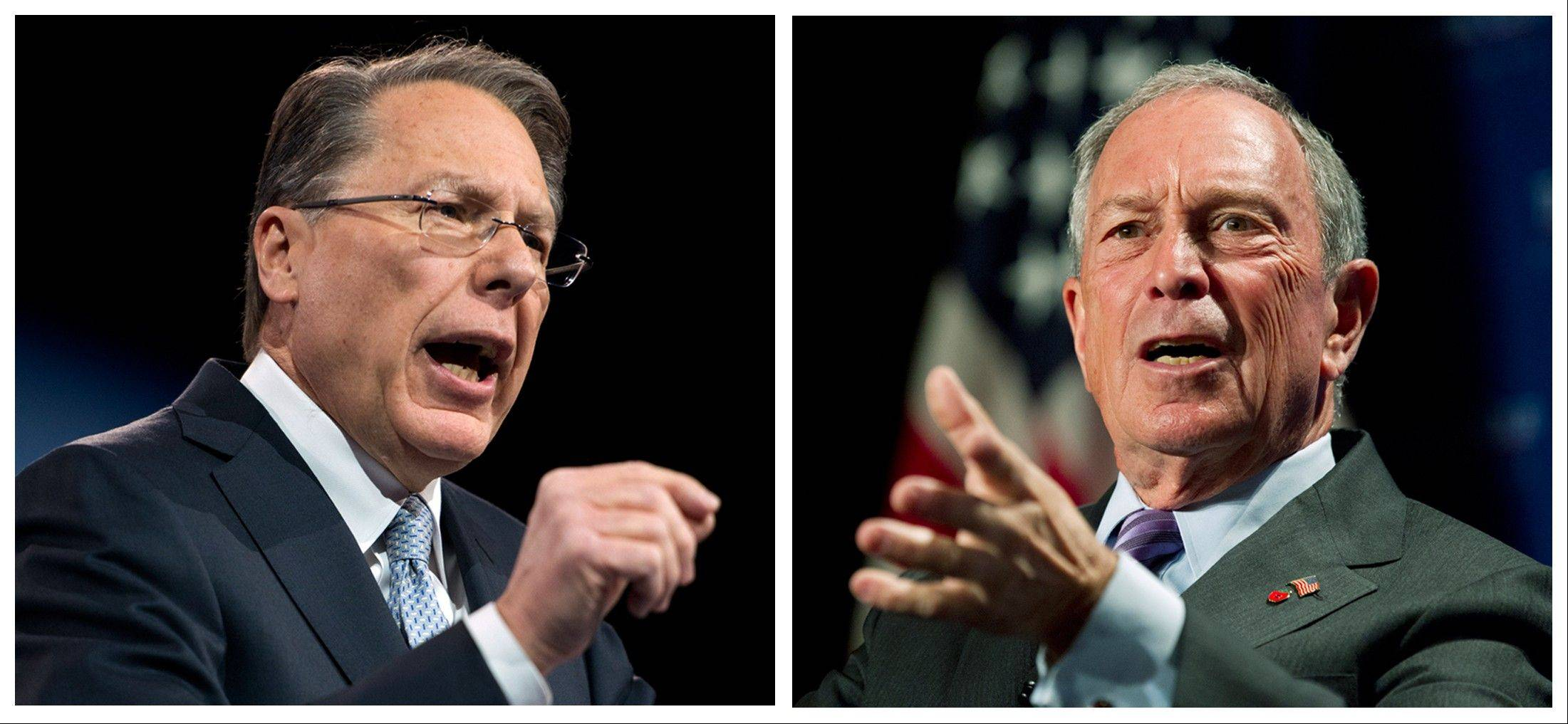 Wayne LaPierre, left, CEO of the National Rifle Association, and, at right, New York City Mayor Michael Bloomberg are two of the loudest voices in the gun debate.