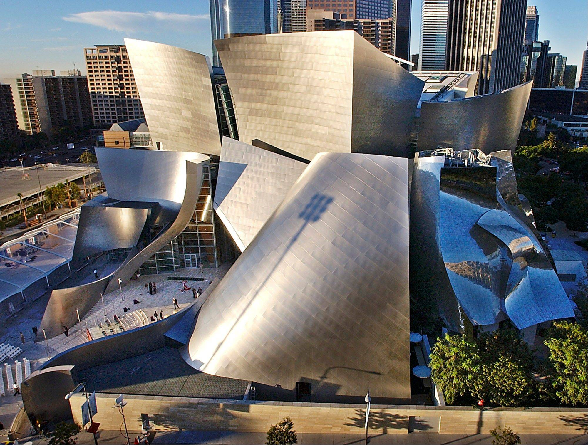 The early morning sun illuminates the new Walt Disney Concert Hall in downtown Los Angeles.