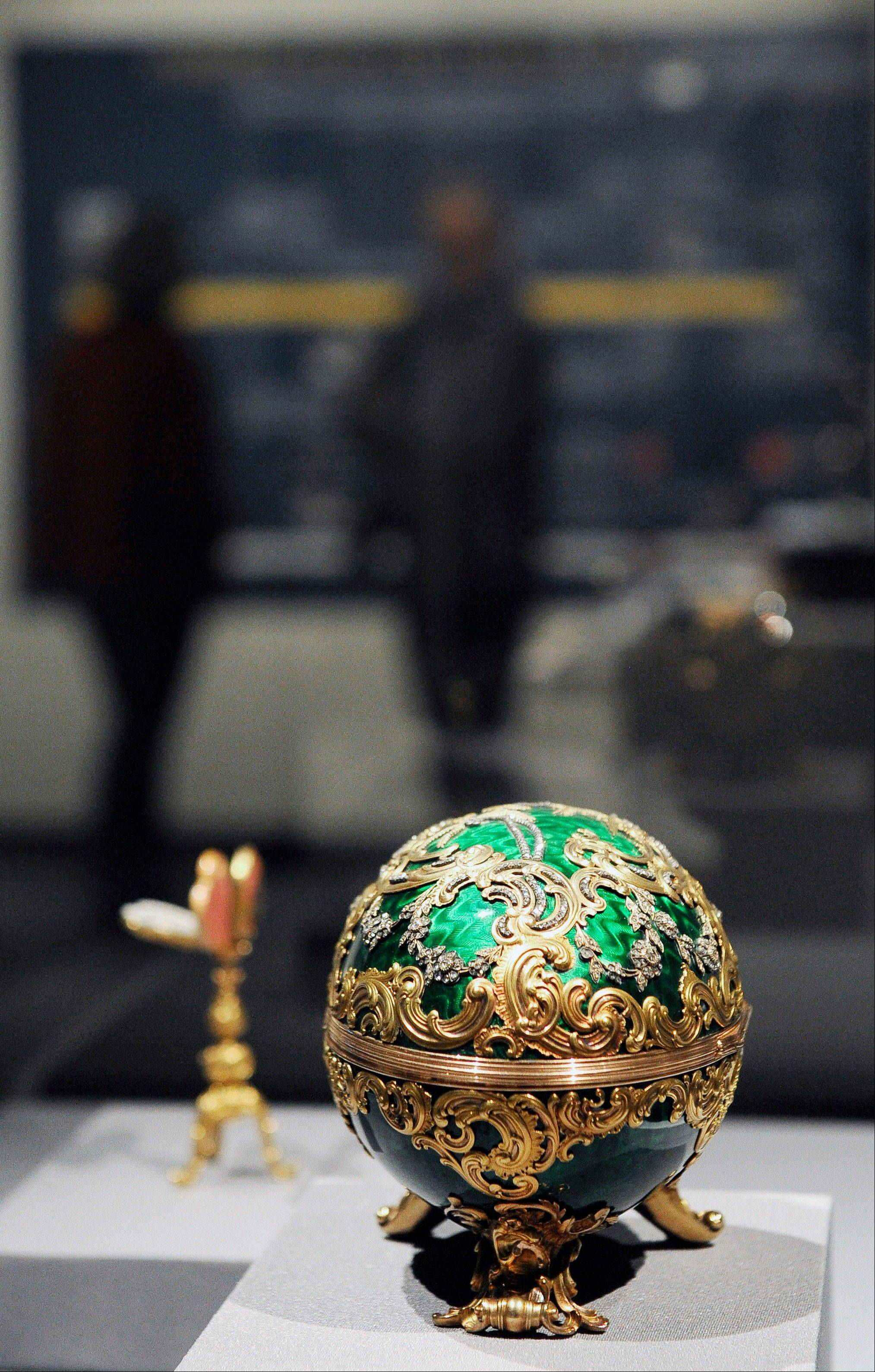 The 1902 Kelch Rocaille Egg sits on display at the Houston Museum of Natural Science as part of the largest private collection of items in the United States from the Russian artisan Peter Carl Faberge.