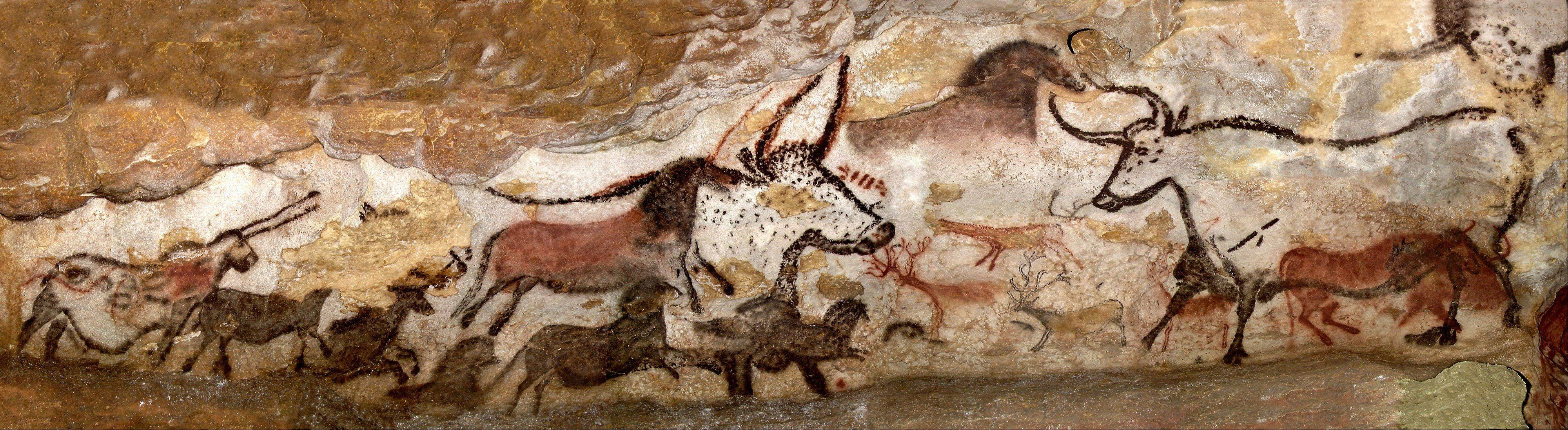 One of the most recognizable images from Lascaux, the Hall of Bulls contains six images of bulls, horses and stag. One bull measures 17 feet long -- the largest animal depicted in cave art.