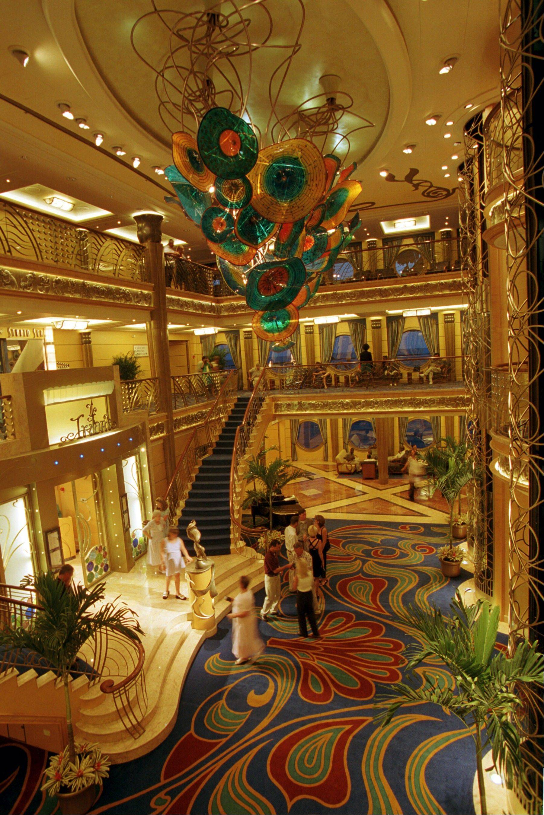 The three-deck atrium lobby on the Disney Wonder features Art Nouveau-inspired details reminiscent of the Golden Age of cruising.