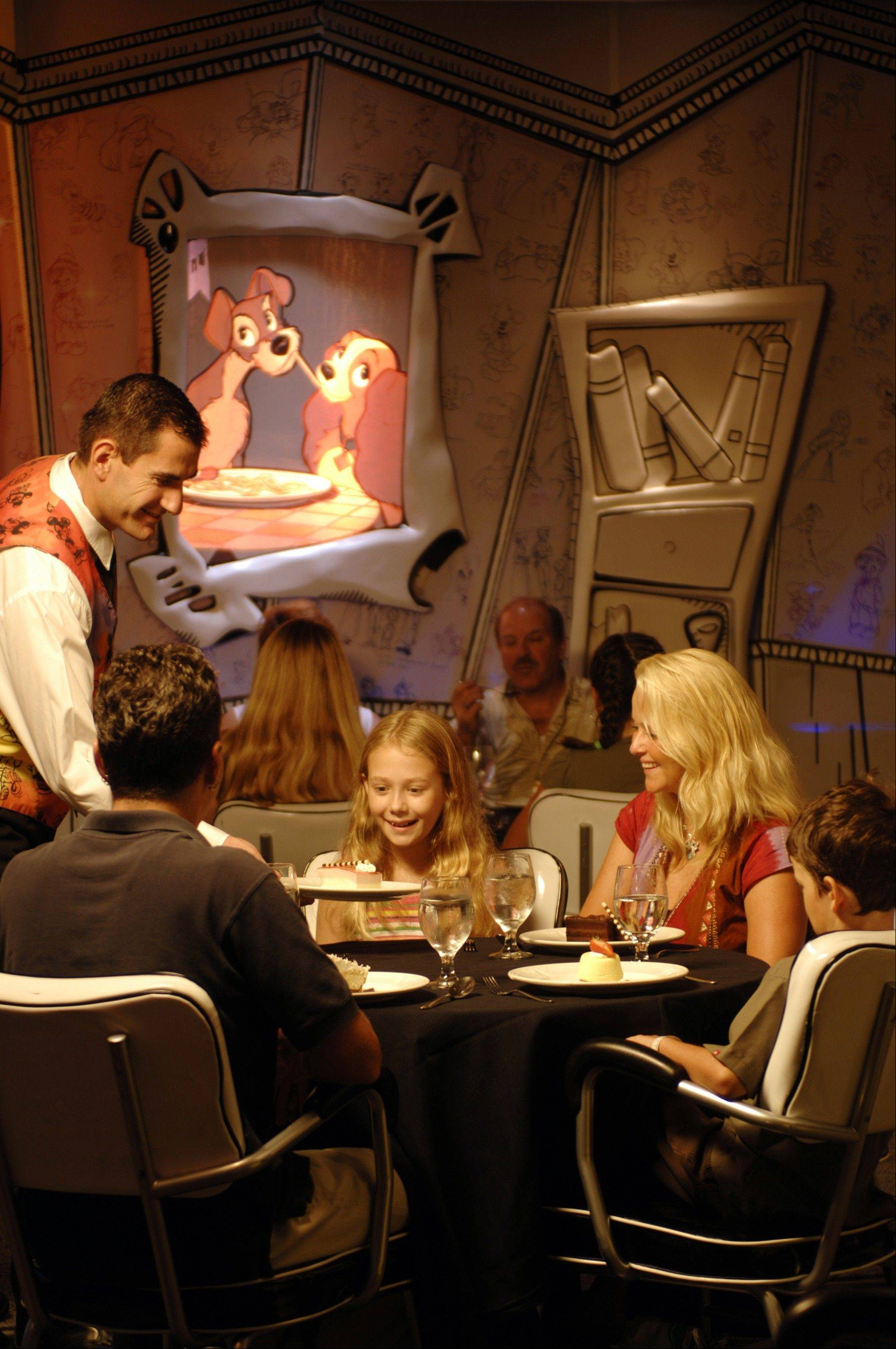 Animator's Palate is one of three dining concept restaurants aboard Disney Cruise Line. On the Disney Wonder, the entire restaurant transforms from a black-and-white artist sketch to a full-color masterpiece during the course of dinner.