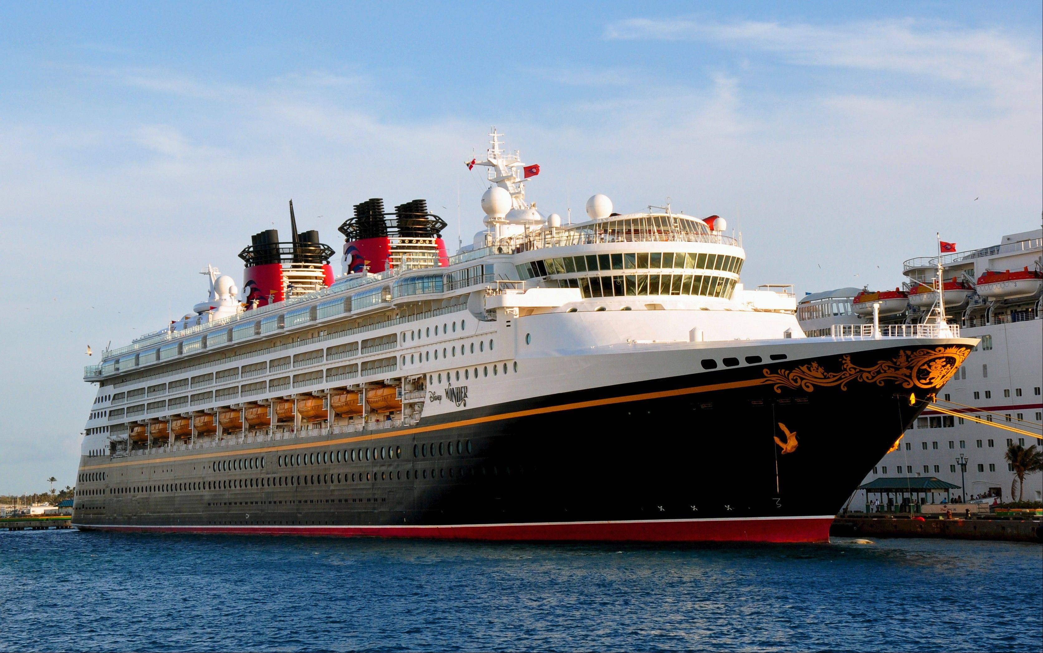 The Disney Wonder calls at Nassau, Bahamas, on four-night cruises from Miami. The ship is one of four operated by Disney Cruise Line.