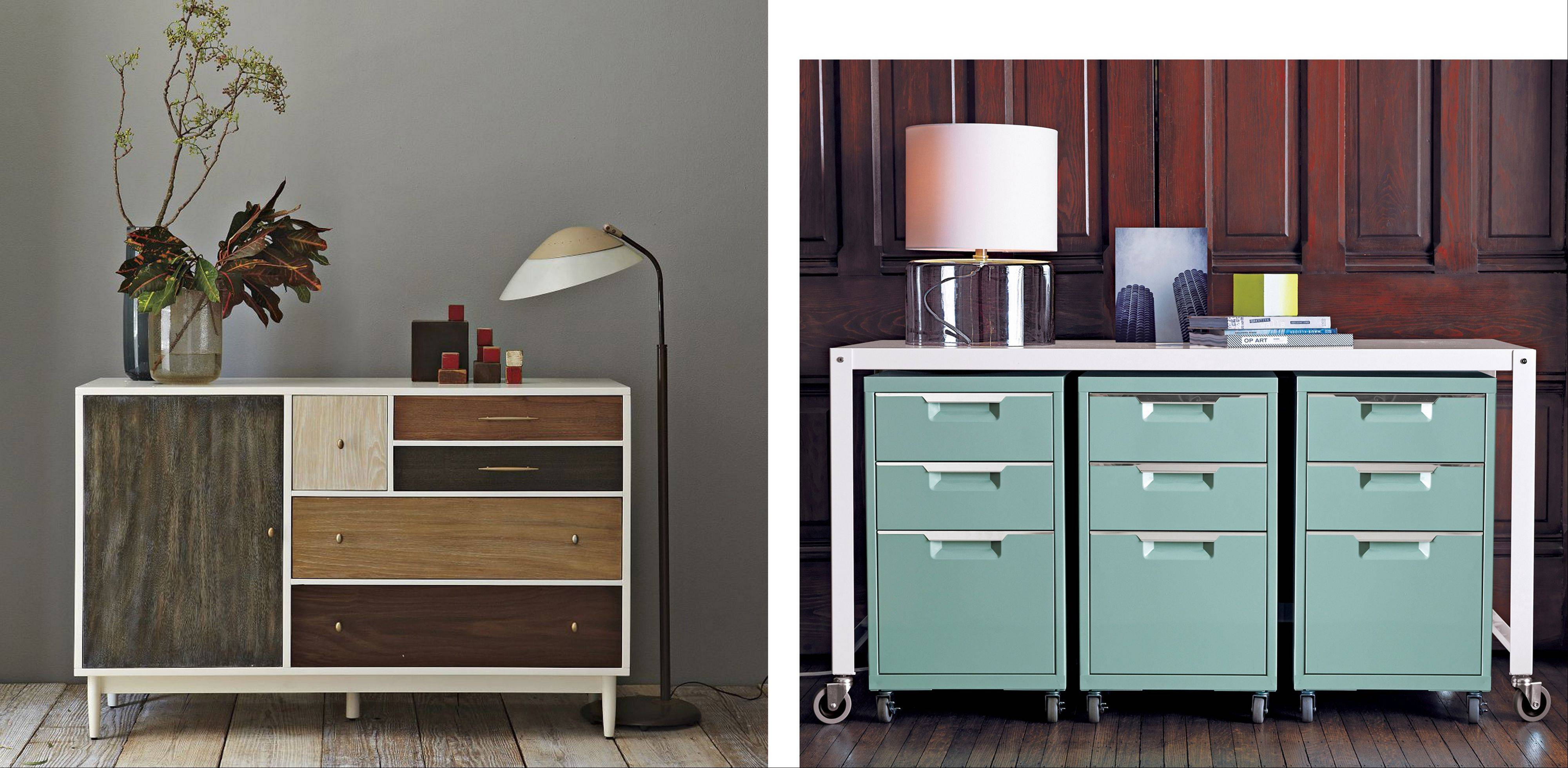 The Patchwork Dresser, left, by West Elm has the handcrafted appeal of a quilt with five drawers and a cabinet, each done in a different wood front; CB2's Totally Perfect Storage file cabinets, topped with a steel Go-Cart White Console Table ($169).