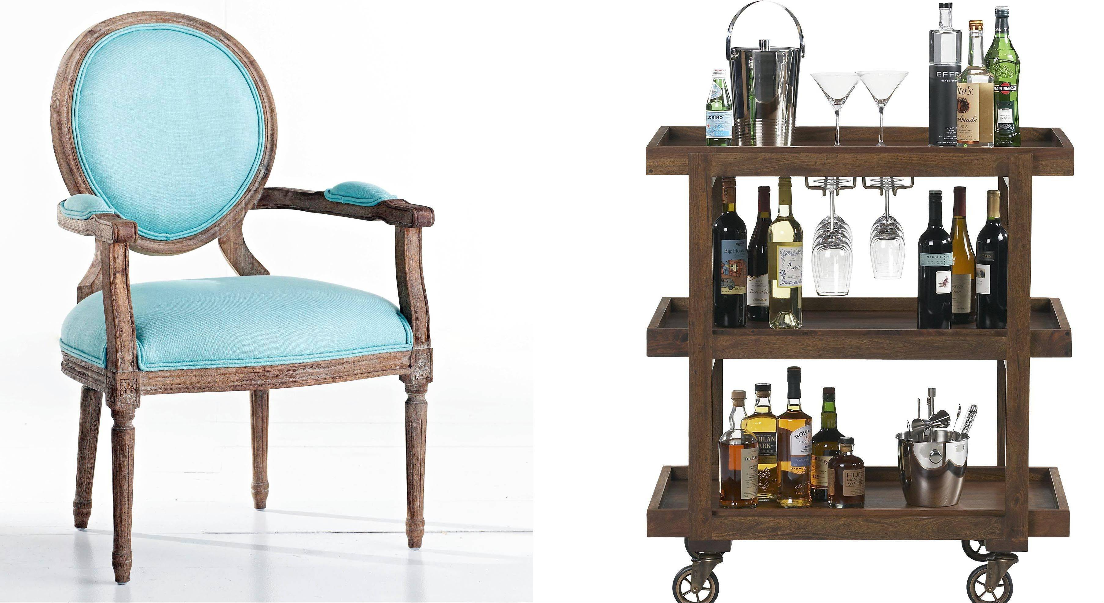 At Wisteria, designers have updated the classic oval-backed Louis XVI chair in weathered oak with pastel Belgian linen upholstery, giving the chair eye-candy appeal; a small cart with a big footprint, Crate & Barrel's Collins trolley-style cart can free up kitchen cabinet space.