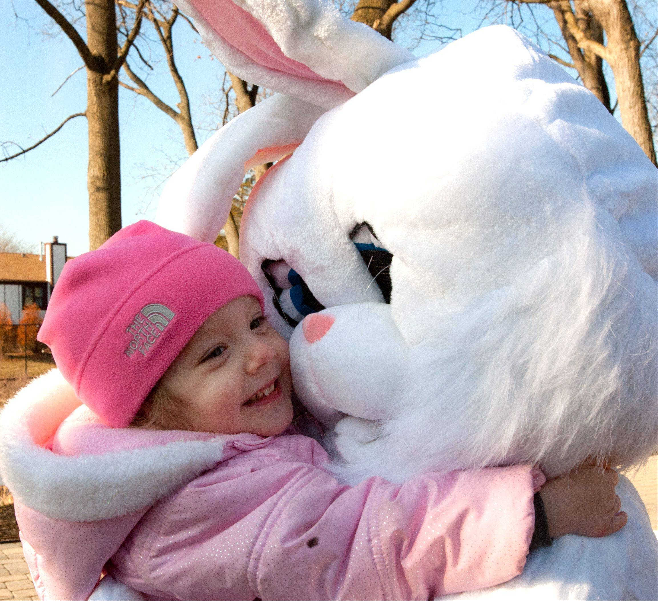 Whitney Hoffman, 2, of Wheaton, gets an Easter Bunny hug during the Wheaton Park District's Great Egg Scramble at the Cosley Zoo.