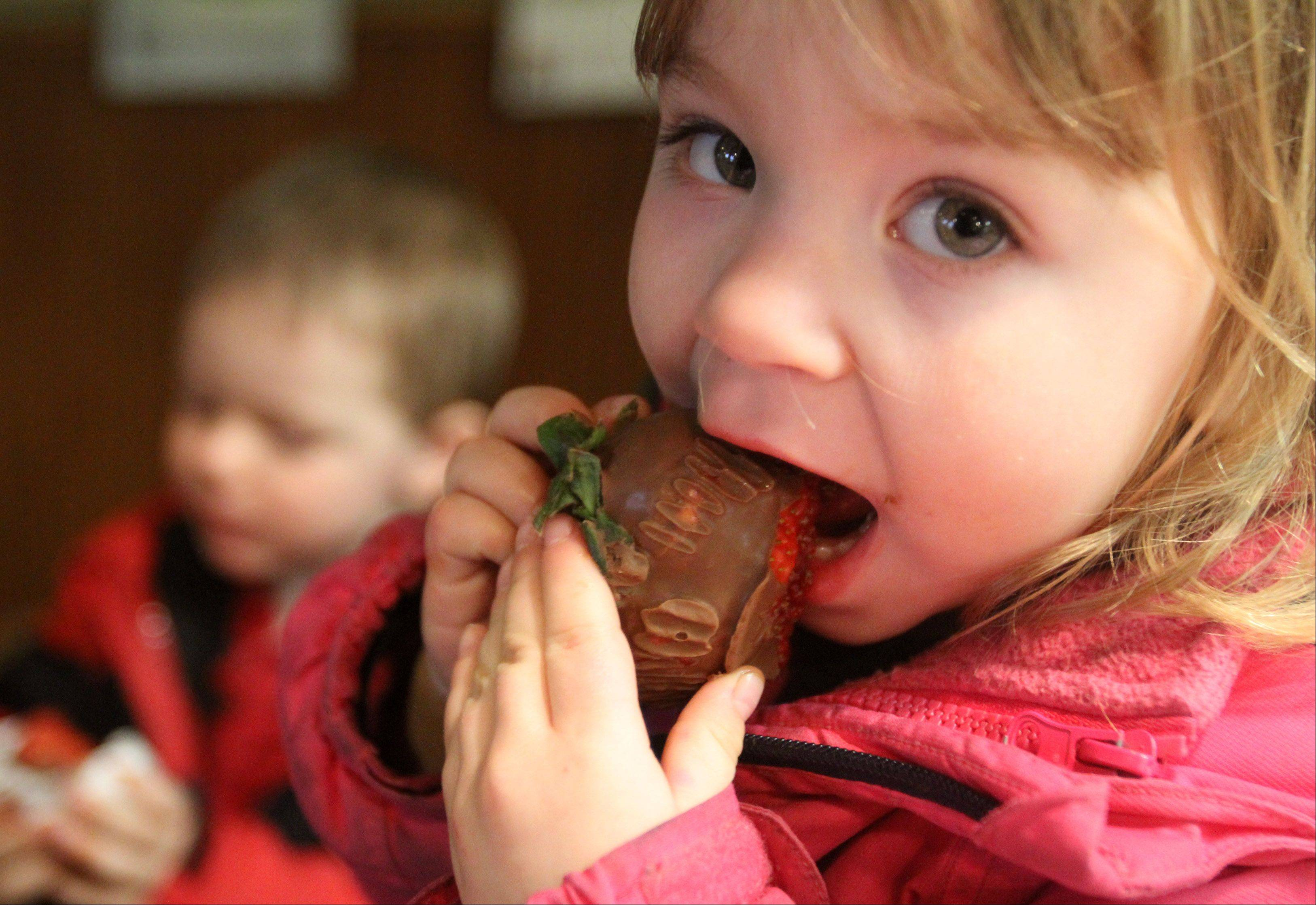 Three-year-old Jocylen Reda enjoys a large chocolate covered strawberry with her brother, Jeffrey, 4, during Heavenly Chocolate Fest at The Congregational Church of Algonquin Saturday.