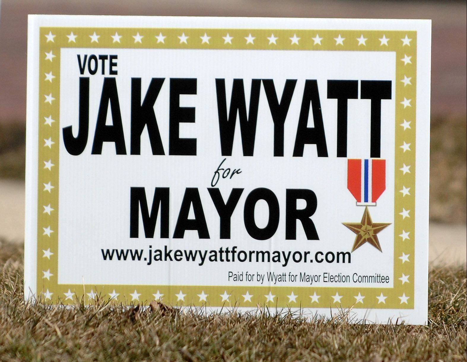 A yard sign for St. Charles mayoral candidate Jake Wyatt.