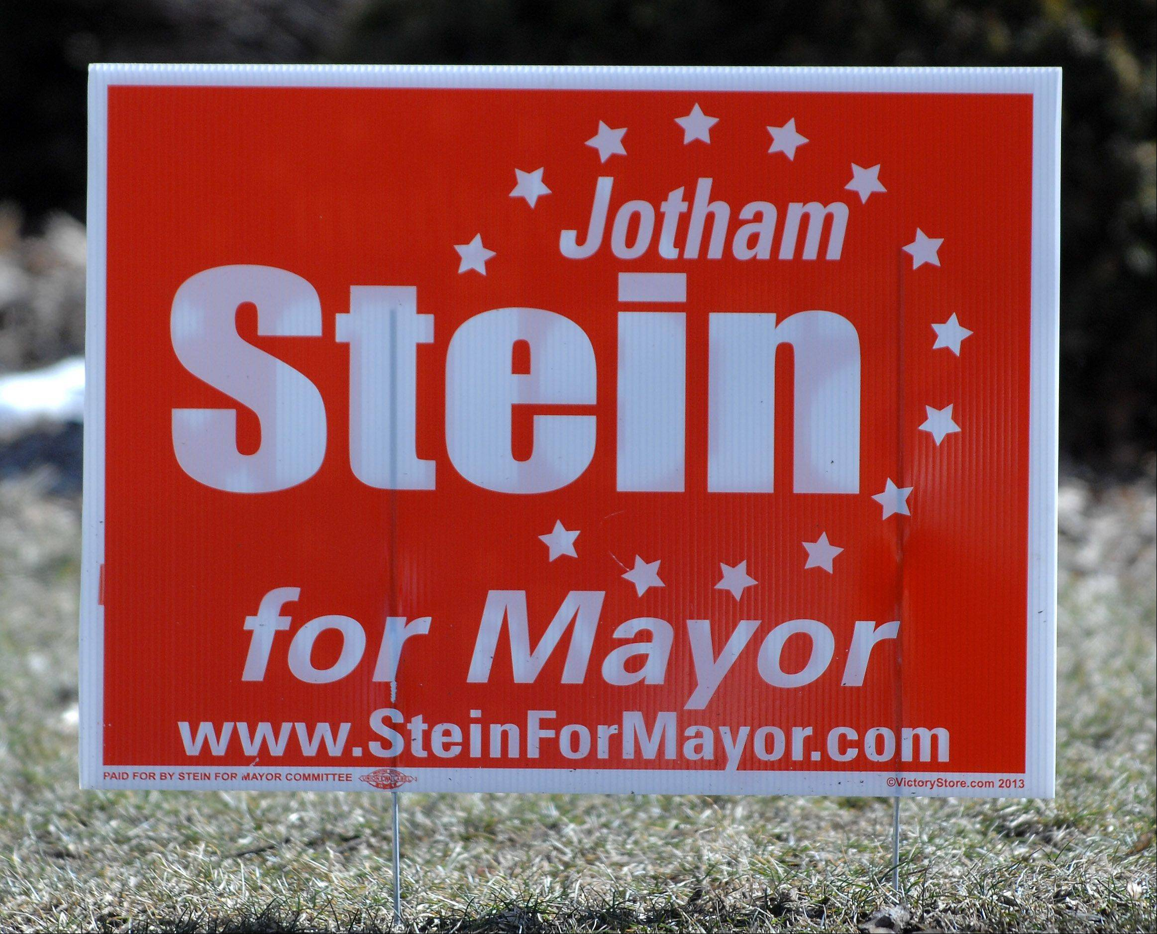 A yard sign for St. Charles mayoral candidate Jotham Stein.