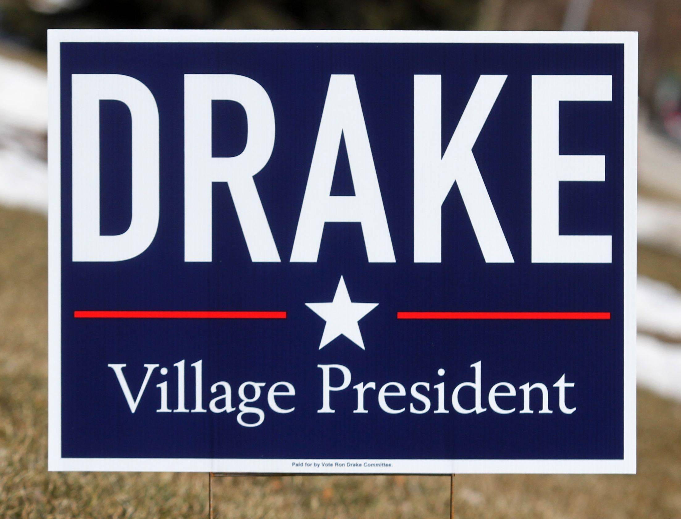 Ron Drake's 2013 sign for Arlington Heights mayor.