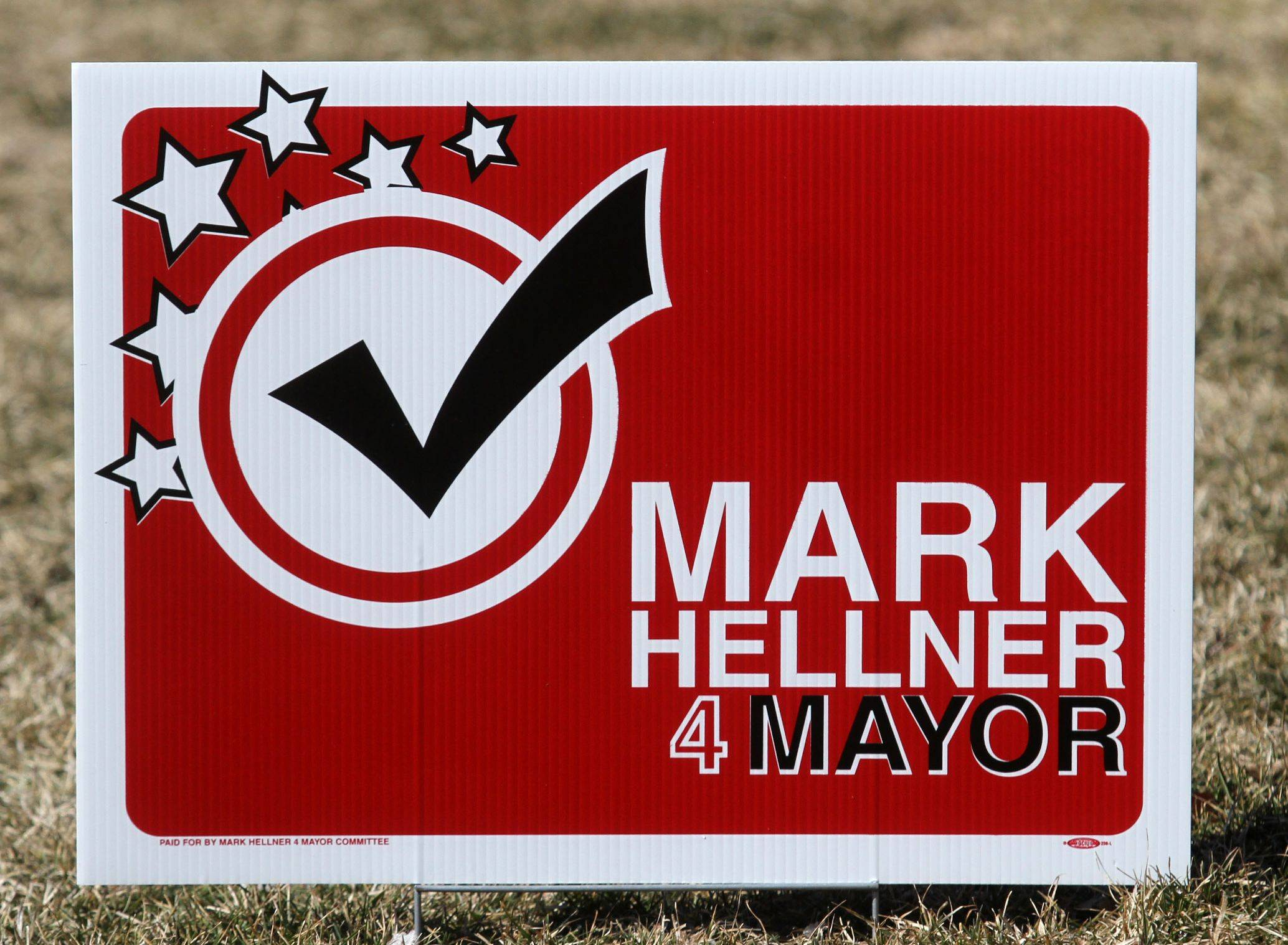 Mark Hellner's 2013 sign for Arlington Heights mayor.