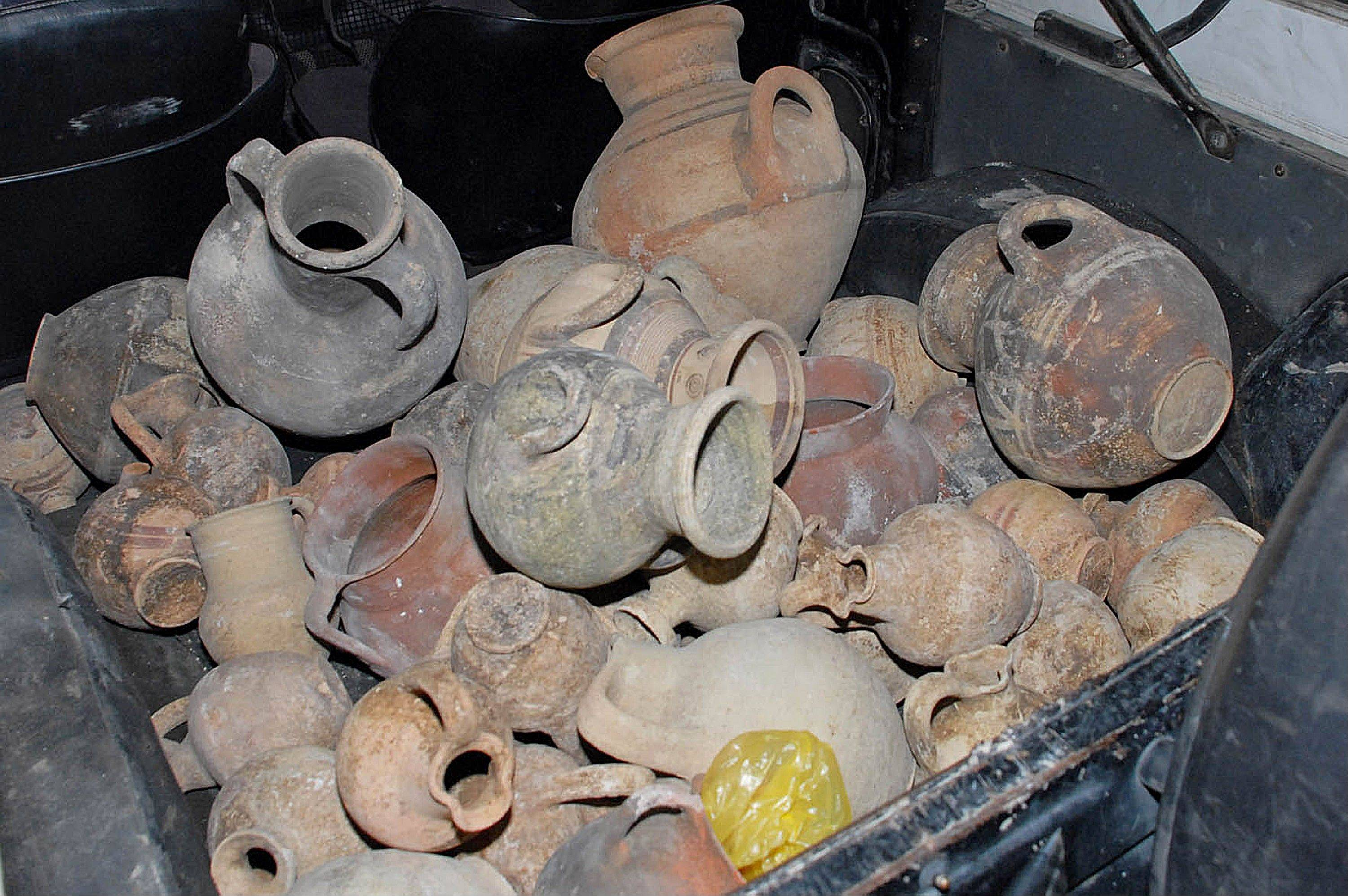 Antiquities seized from smugglers in the southern city of Limassol, Cyprus.