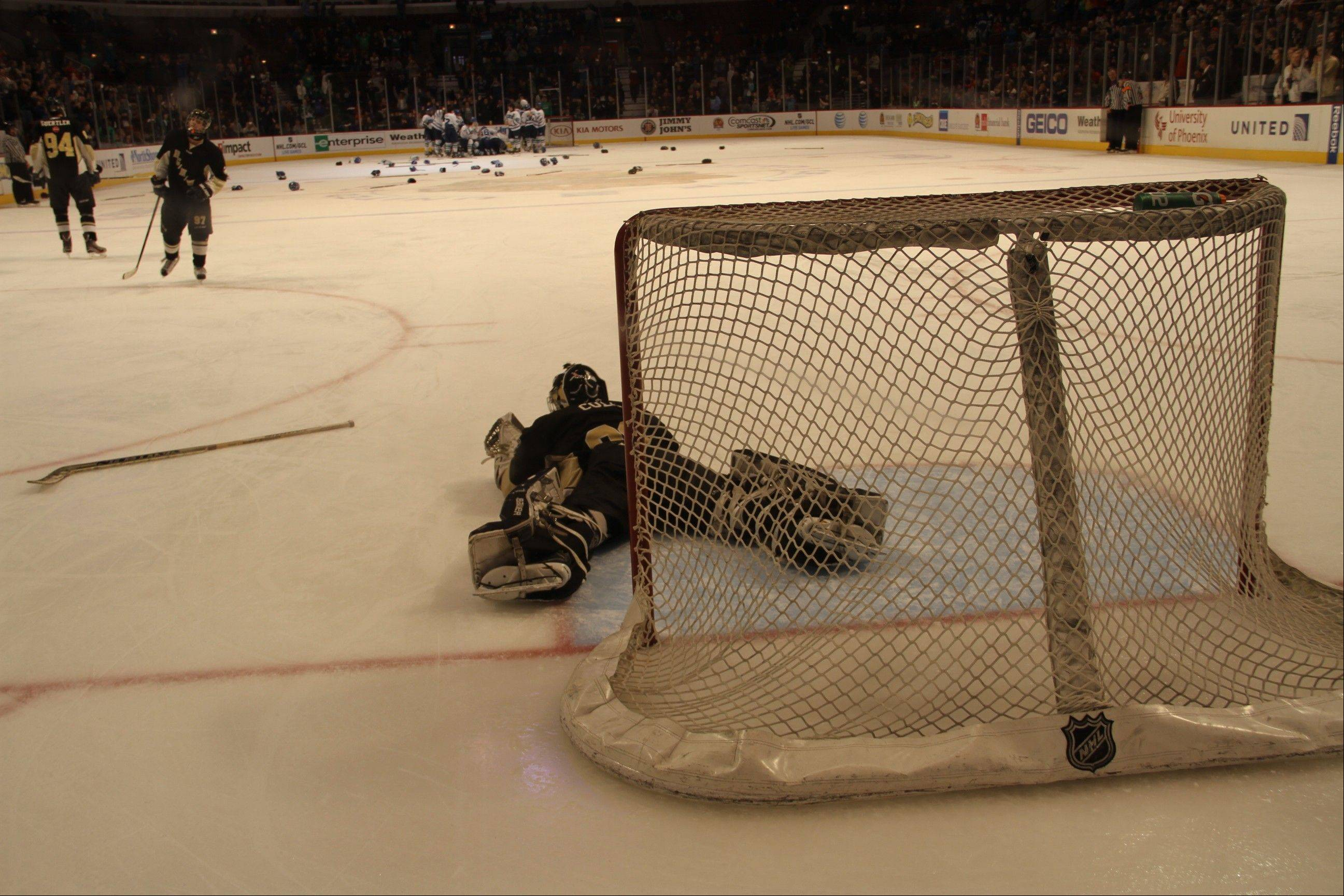 BG/H/W goalie Andrew Cole lies motionless after Rockford's deciding goal in overtime Sunday at the United Center.