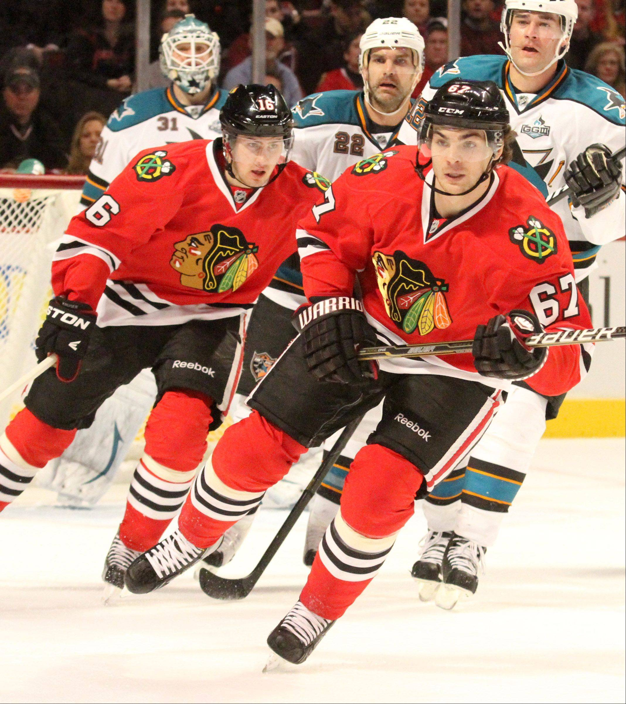 Michael Frolik will be on the top line Monday night, subbing for the injured Marian Hossa, when the Blackhawks host the Kings.