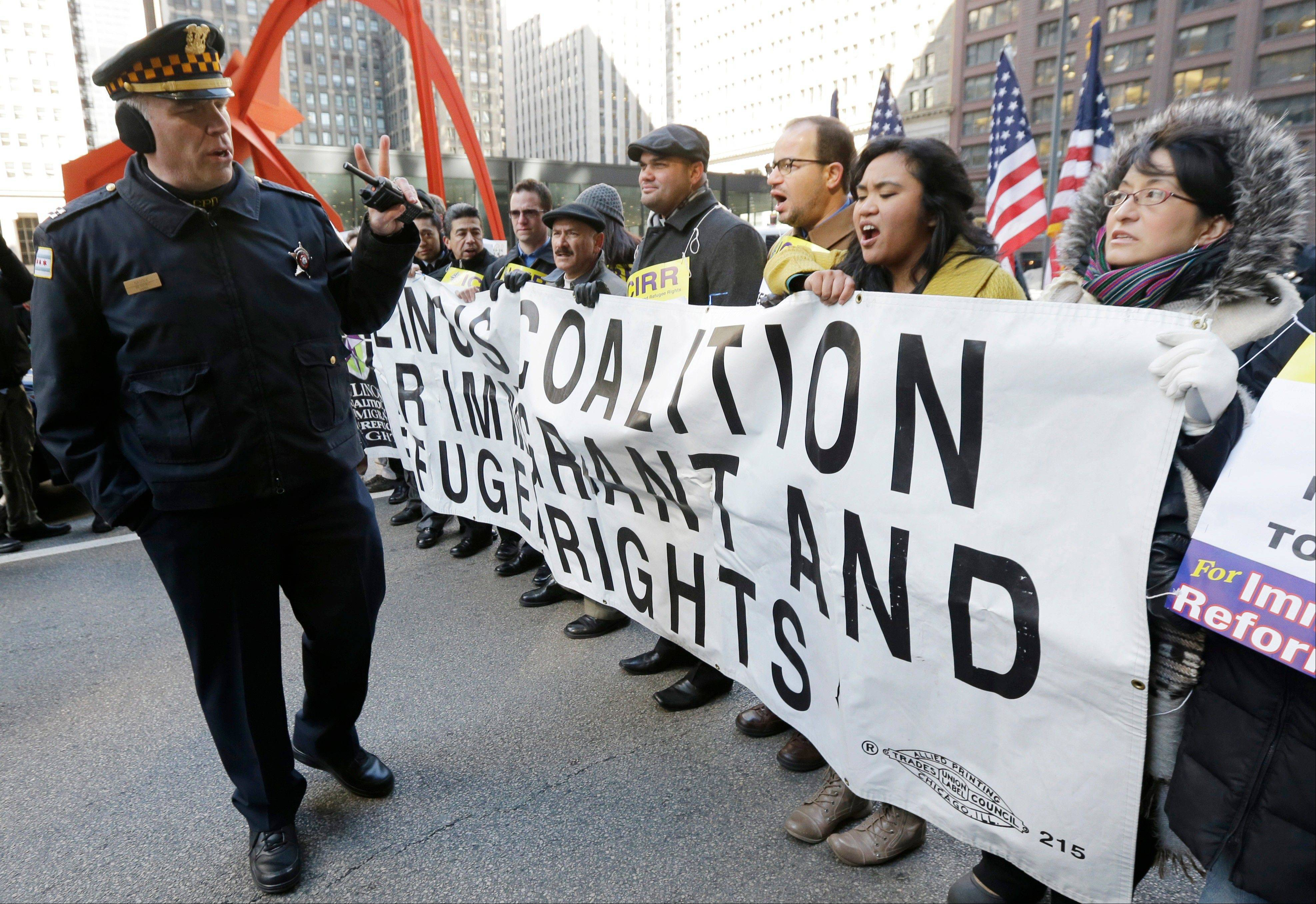 A pro-immigration reform demonstration took place in Chicago on Friday.
