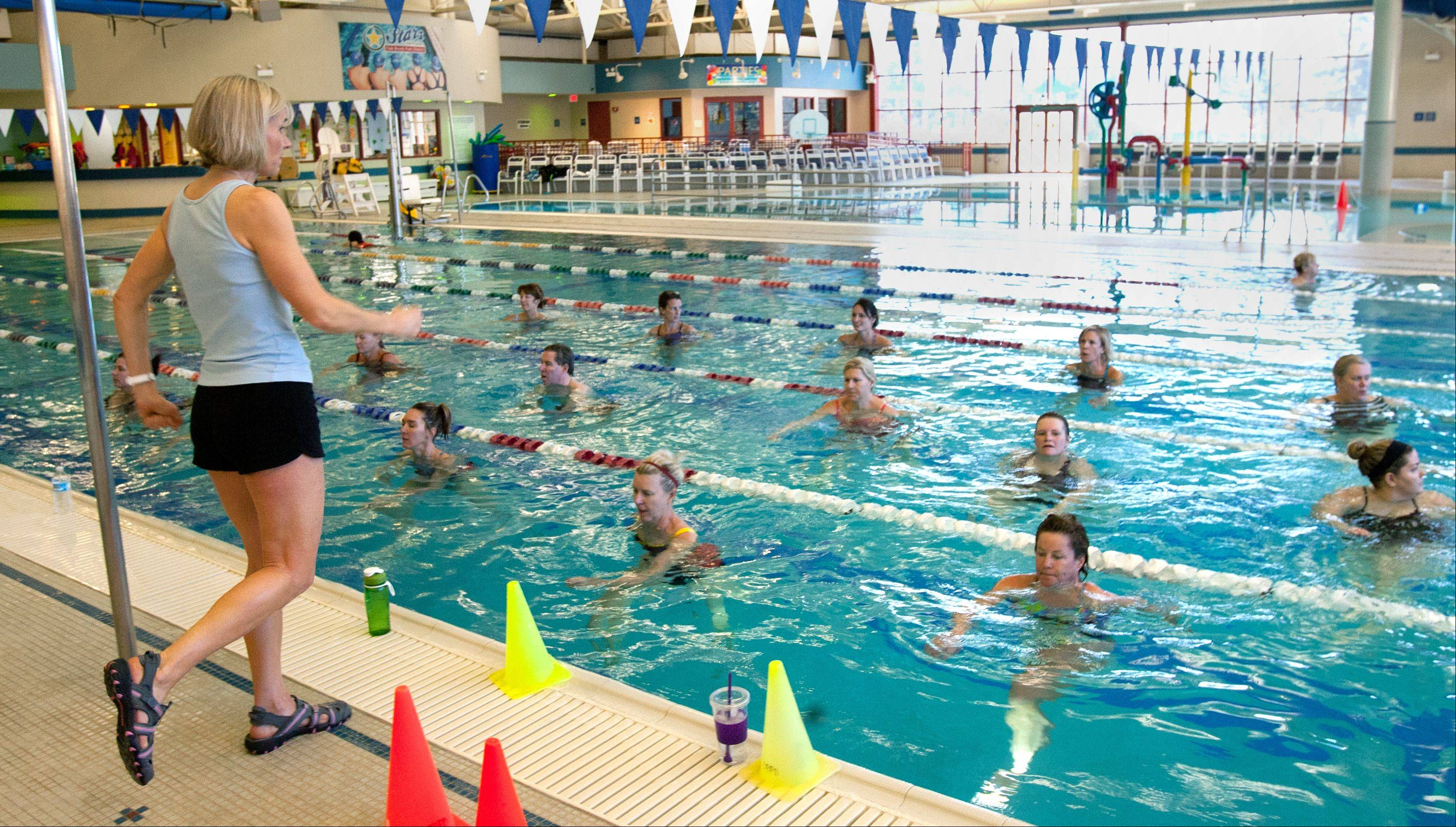 Jennifer Conroyd, the only certified water running coach in the U.S., teaches exercise classes at the Oak Brook Park District Family Recreation Center. Deep water running offers all the benefits of running on land, plus more, she says.
