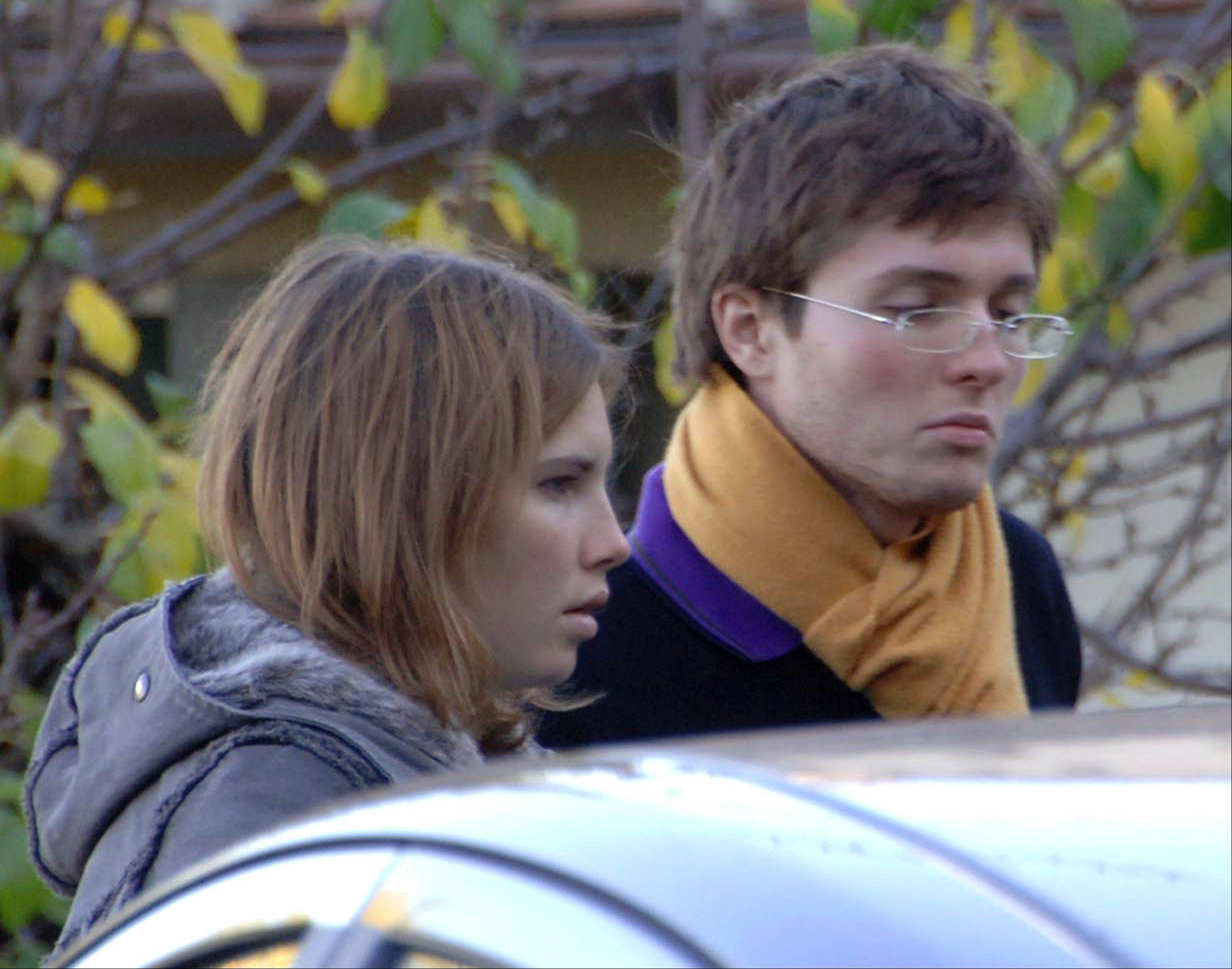 Amanda Knox, of Seattle, and her then-boyfriend Raffaele Sollecito, of Italy, outside the rented house in 2007 where 21-year-old British student Meredith Kercher was found dead in Perugia, Italy. The Court of Cassation on Monday is considering prosecutors' contentions that the 2011 acquittals of Knox and Sollecito in the murder of Kercher should be thrown out and a new trial ordered.