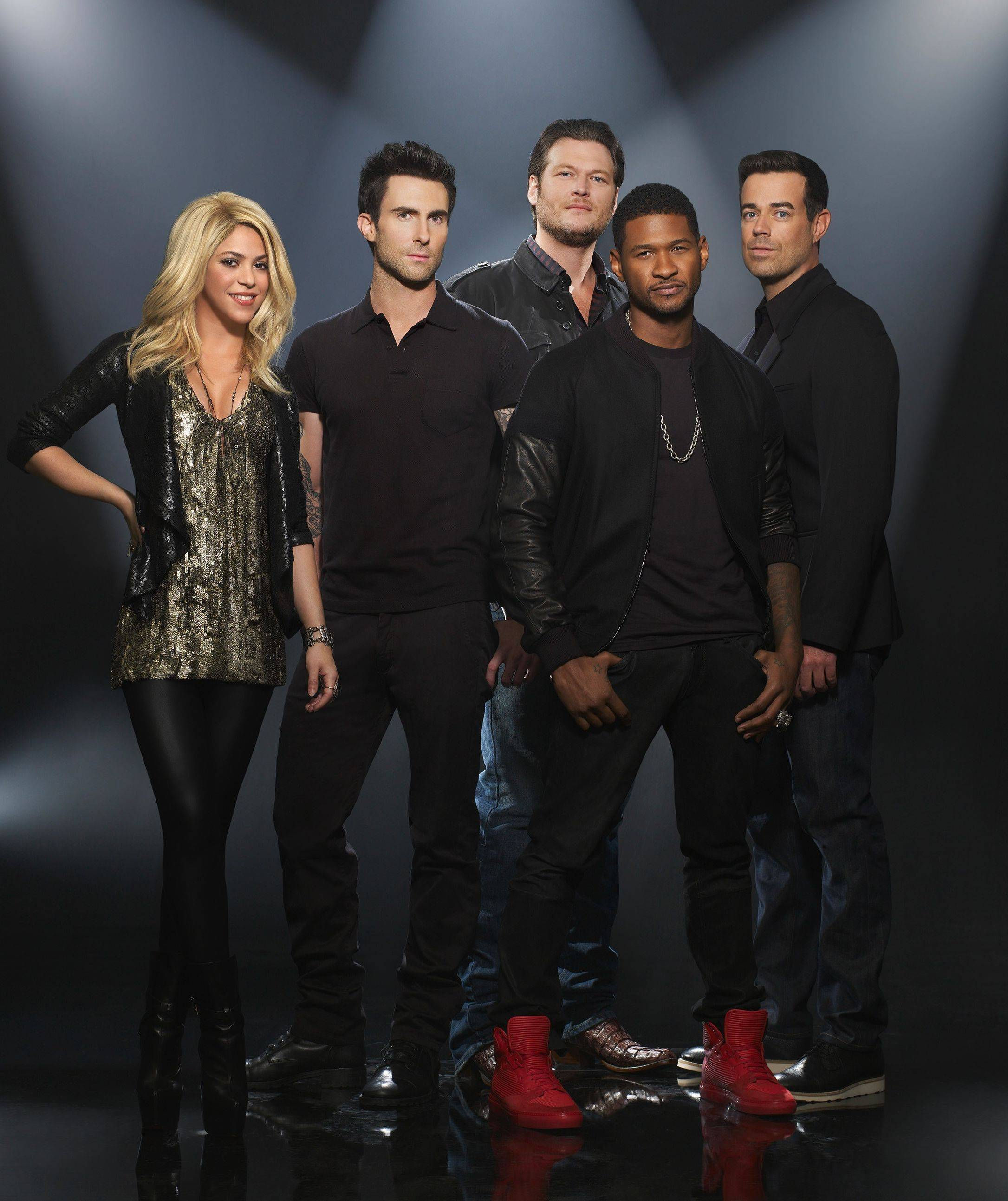 "NBC's ""The Voice"" returns Monday with the same concept but two new mentors. Shakira, left, and Usher, second from right, join Adam Levine, Blake Shelton and host Carson Daly."