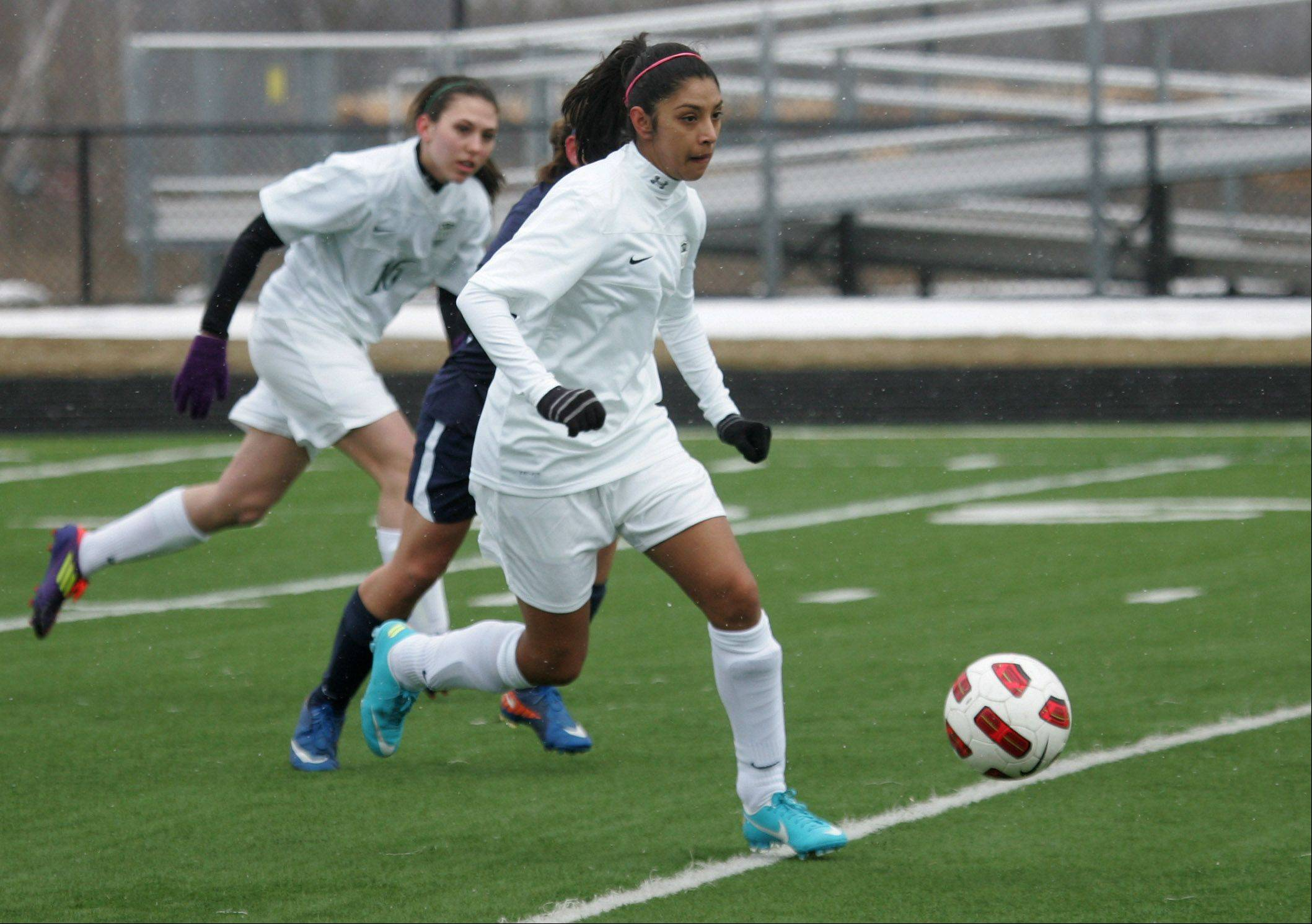 Grayslake Central midfielder Karleen Gomez make a downfield run in the first half during Monday against Round Lake at Grayslake North.