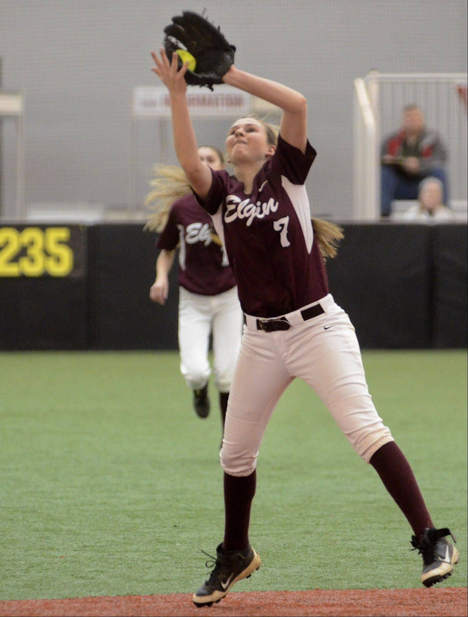 Bob Chwedyk/bchwedyk@dailyherald.comElgin shortstop Bri Wright catches an infield pop up in the fifth inning Monday during the Maroons' 3-2 win in eight innings at The Dome at The Ballpark in Rosemont.