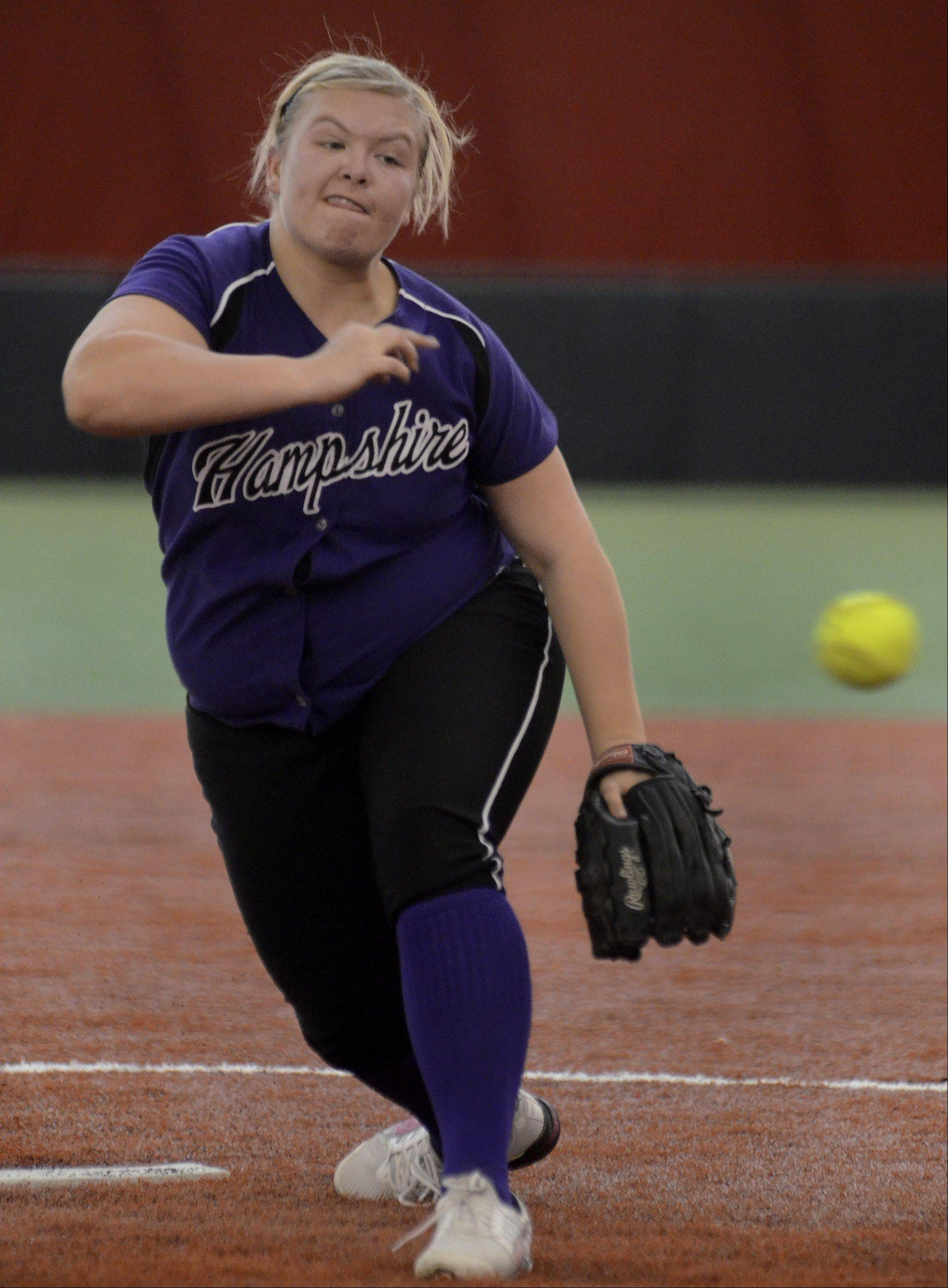 Hampshire pitcher Jen Hurst fires away Monday during Elgin's 3-2 win in eight innings at The Dome at The Ballpark in Rosemont.