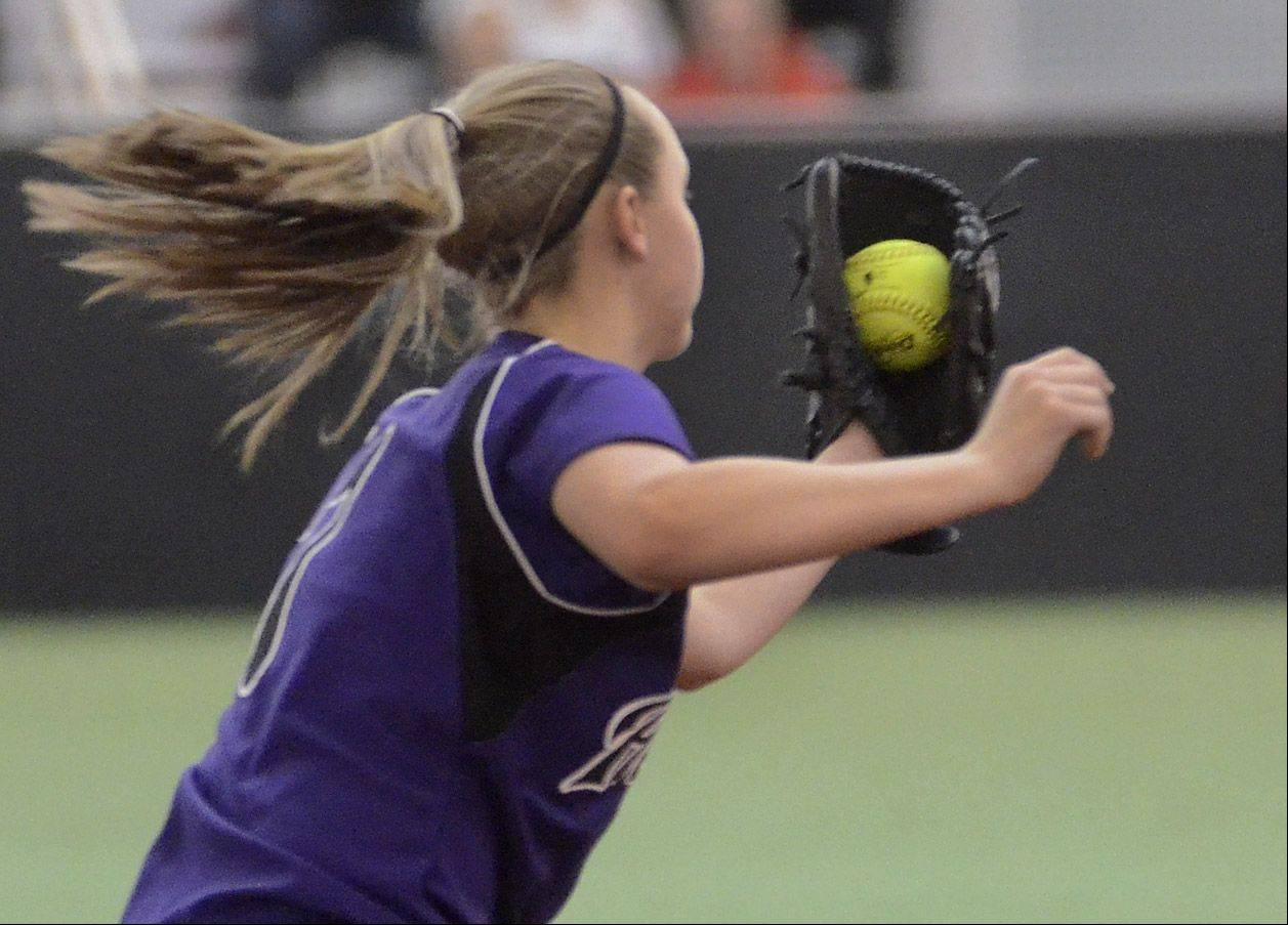 Hampshire shortstop Ally Snider snags a liner hit by Elgin's Anna Eckholm Monday during the Maroons' 3-2 win in eight innings at The Dome at The Ballpark in Rosemont.