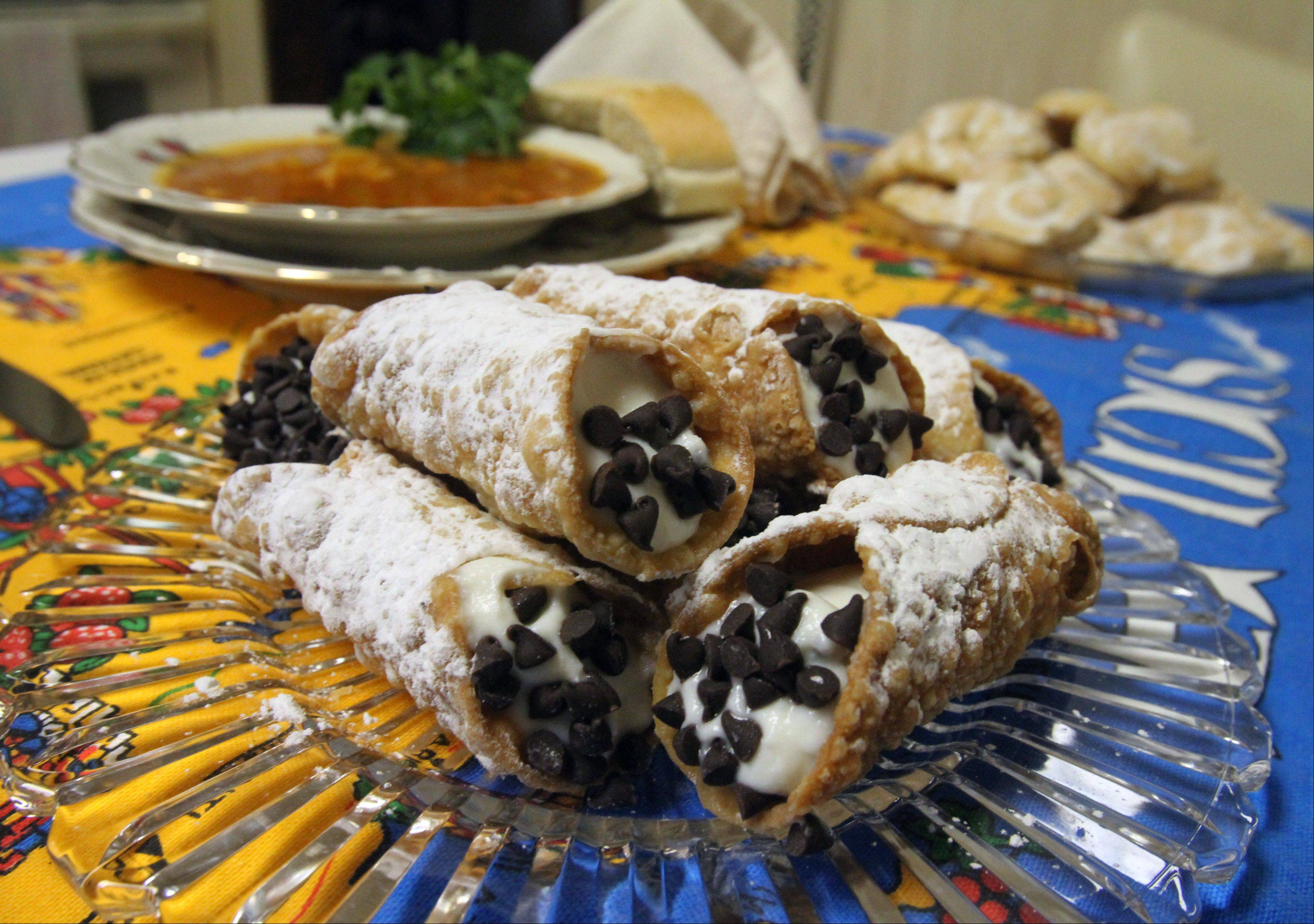 Cinnamon oil and vanilla powder flavor the filling in Angie Gergen�s homemade cannolis.