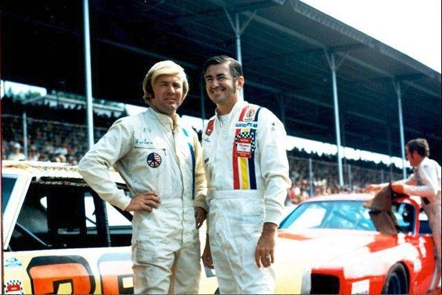 Fred Lorenzen, left, with NASCAR Hall of Fame driver Bobby Allison.