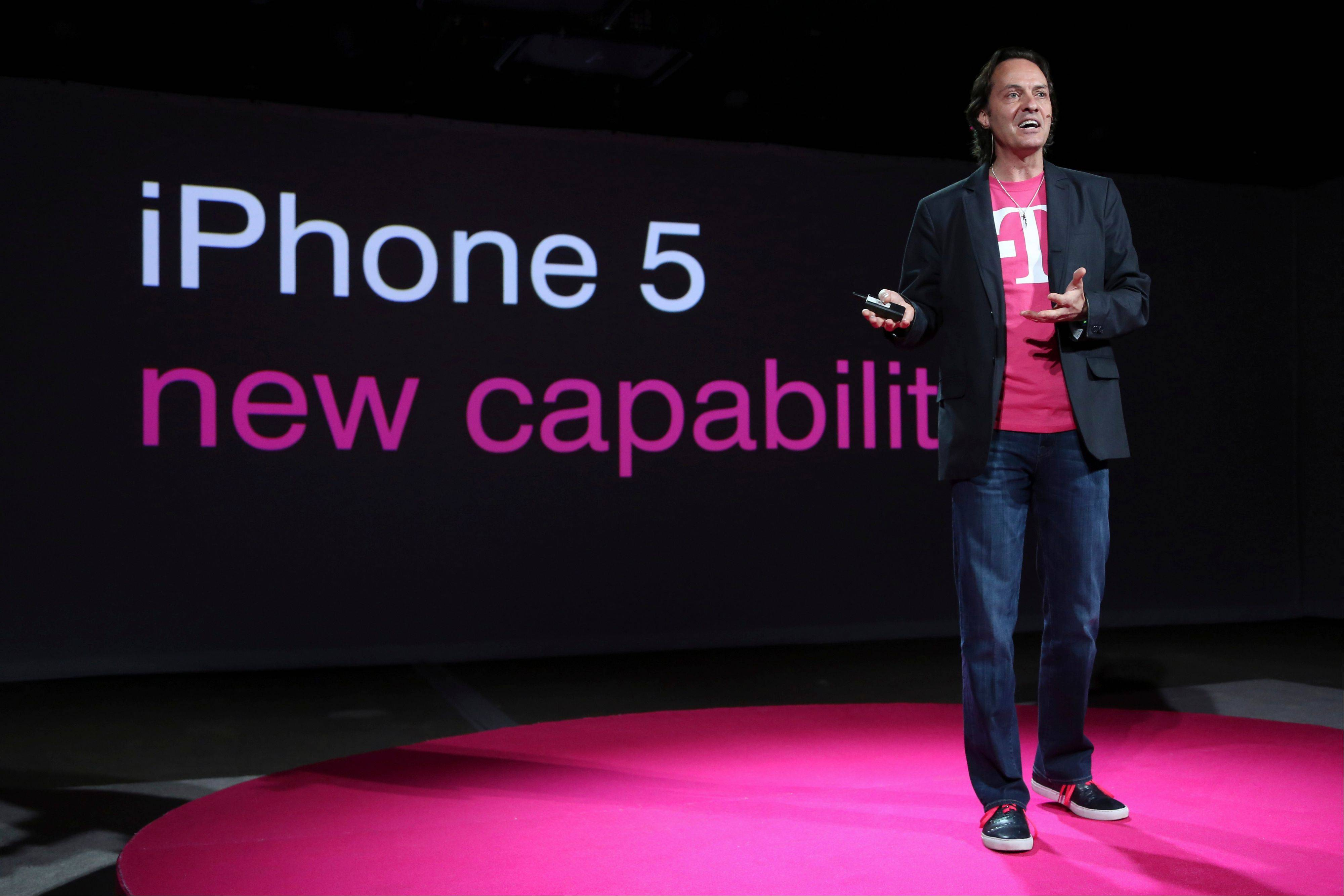 "T-Mobile CEO John Legere, speaking Tueseday in New York, detailed how the company will start offering the iPhone 5 on April 12, filling what Legere said was ""a huge void"" in its phone lineup. The company is currently the only major U.S. carrier not to offer Apple's popular smartphone."